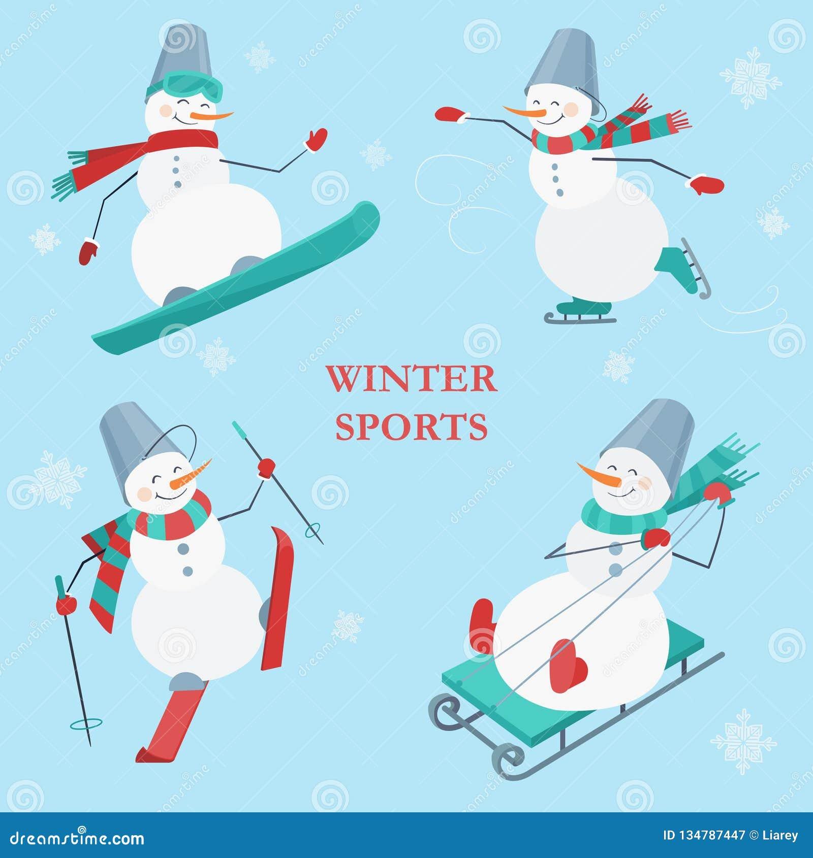 Ajuste dos bonecos de neve em um fundo azul com flocos de neve Azul, placa, pensionista, embarque, exercício, extremo, divertimen