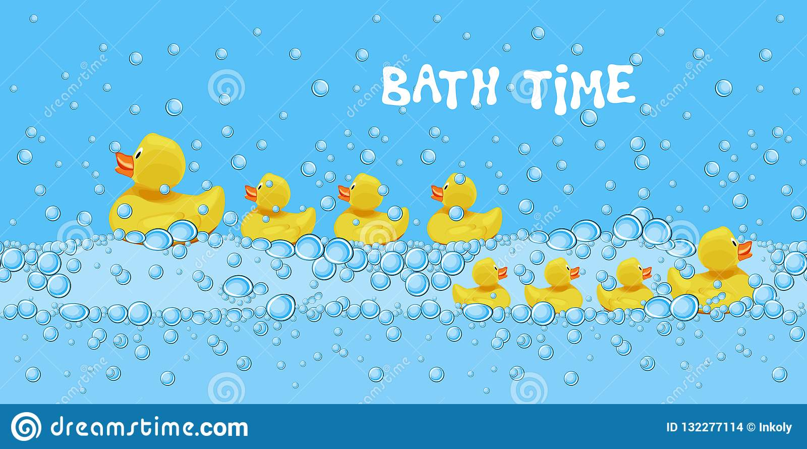 Ajuste dos brinquedos de borracha bonitos do pato que nadam na água de banho com bolhas de sabão
