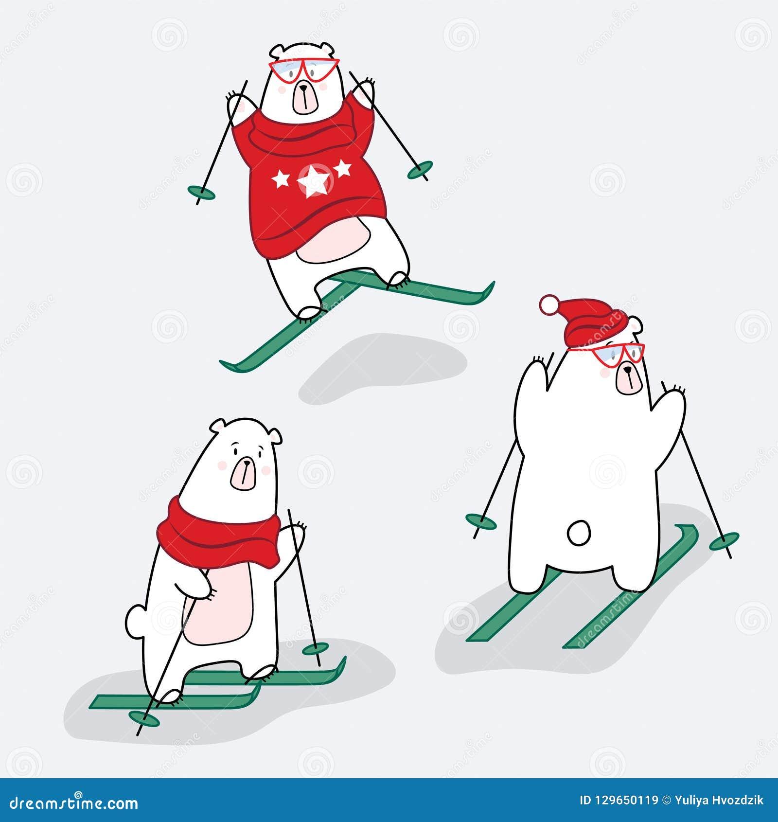 Ajuste dos caráteres do urso polar na roupa em um esqui