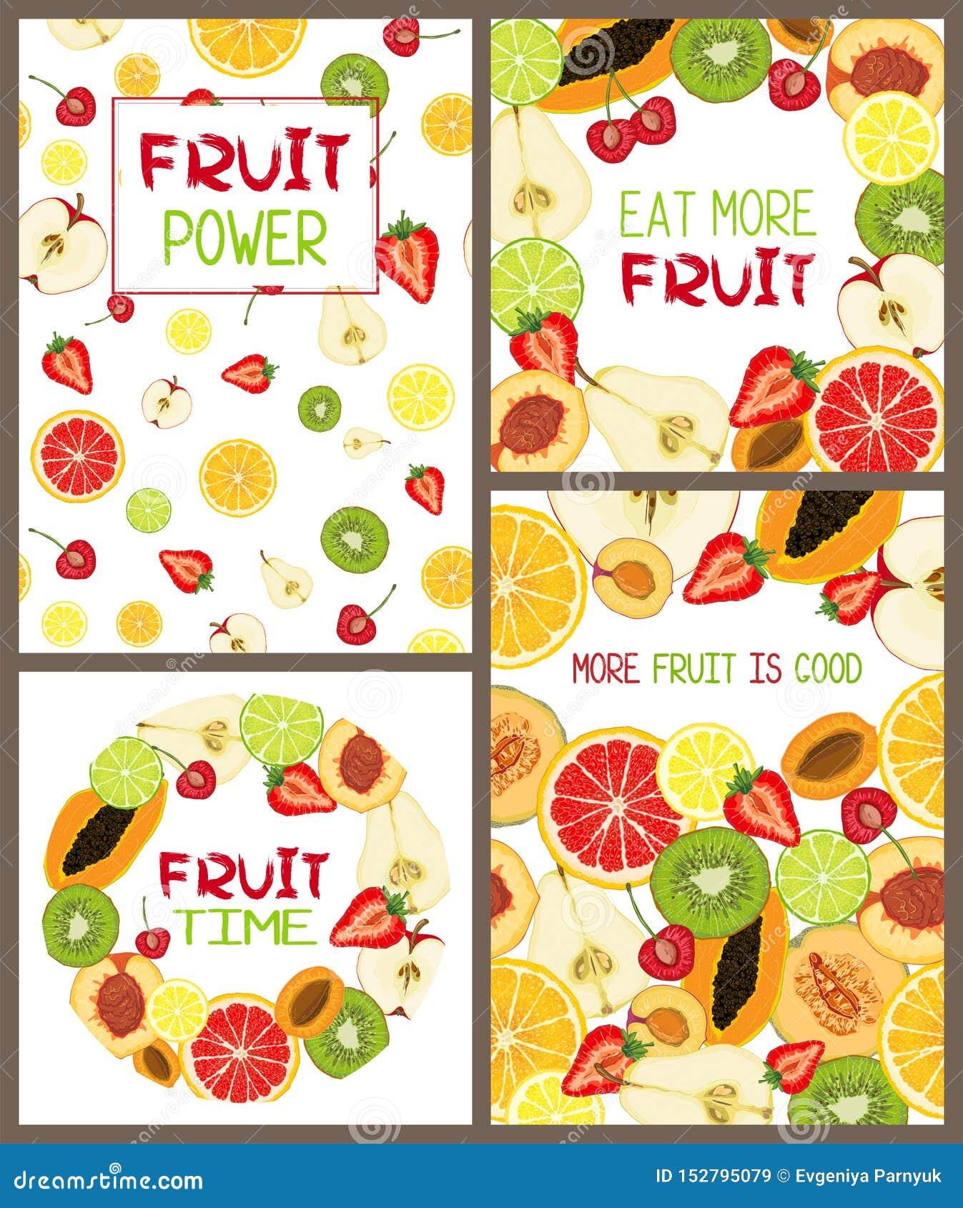 Ajuste dos cartões do vetor com fatias do fruto e mensagem de texto naturais