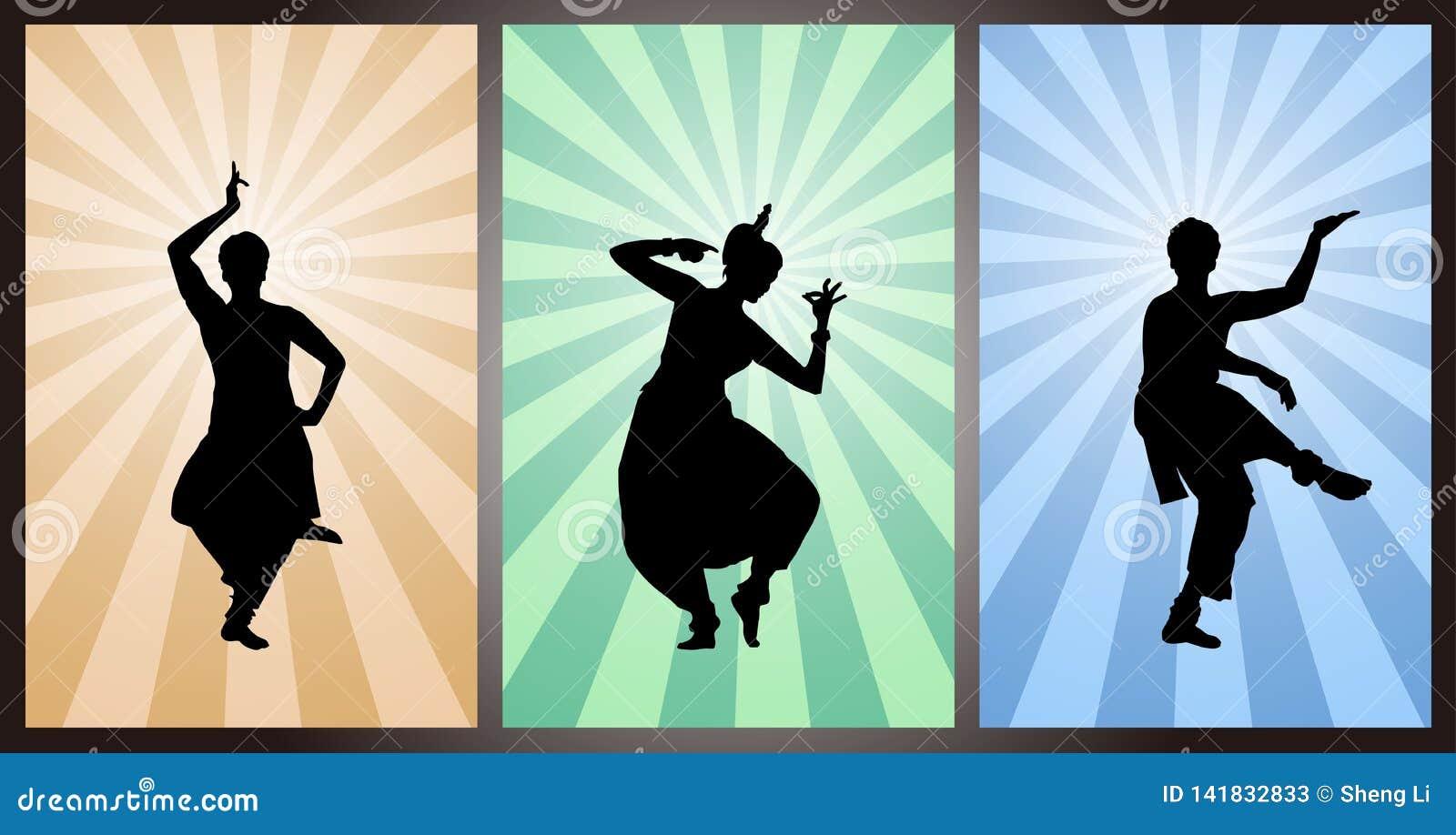 Ajuste dos dançarinos indianos, silhueta