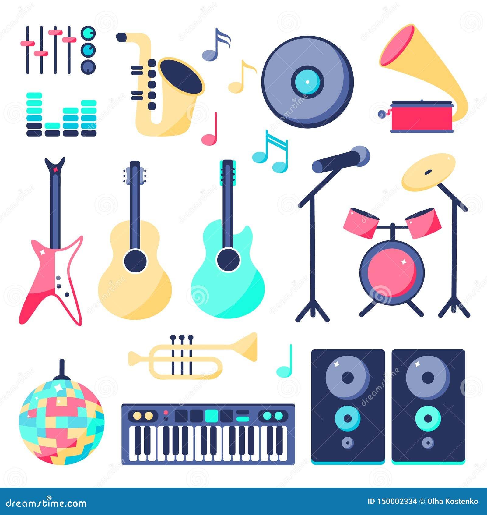 Ajuste dos instrumentos de música no estilo liso: altifalante, guitarra da rocha, guitarra, bola do disco, microfone, piano,