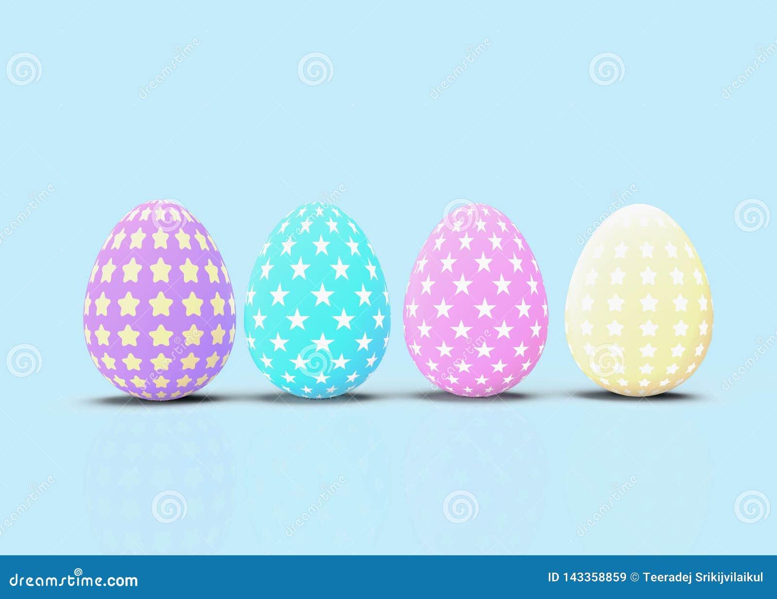 Ajuste dos ovos da páscoa decorativos com testes padrões diferentes no fundo azul