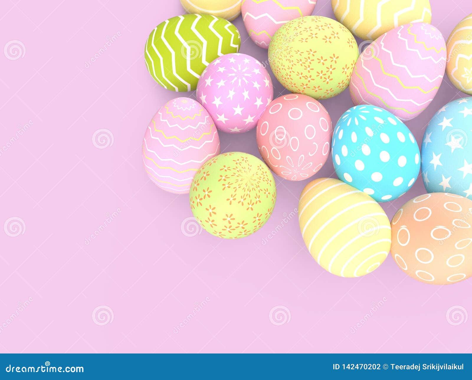 Ajuste dos ovos da páscoa decorativos com testes padrões diferentes no fundo pastel
