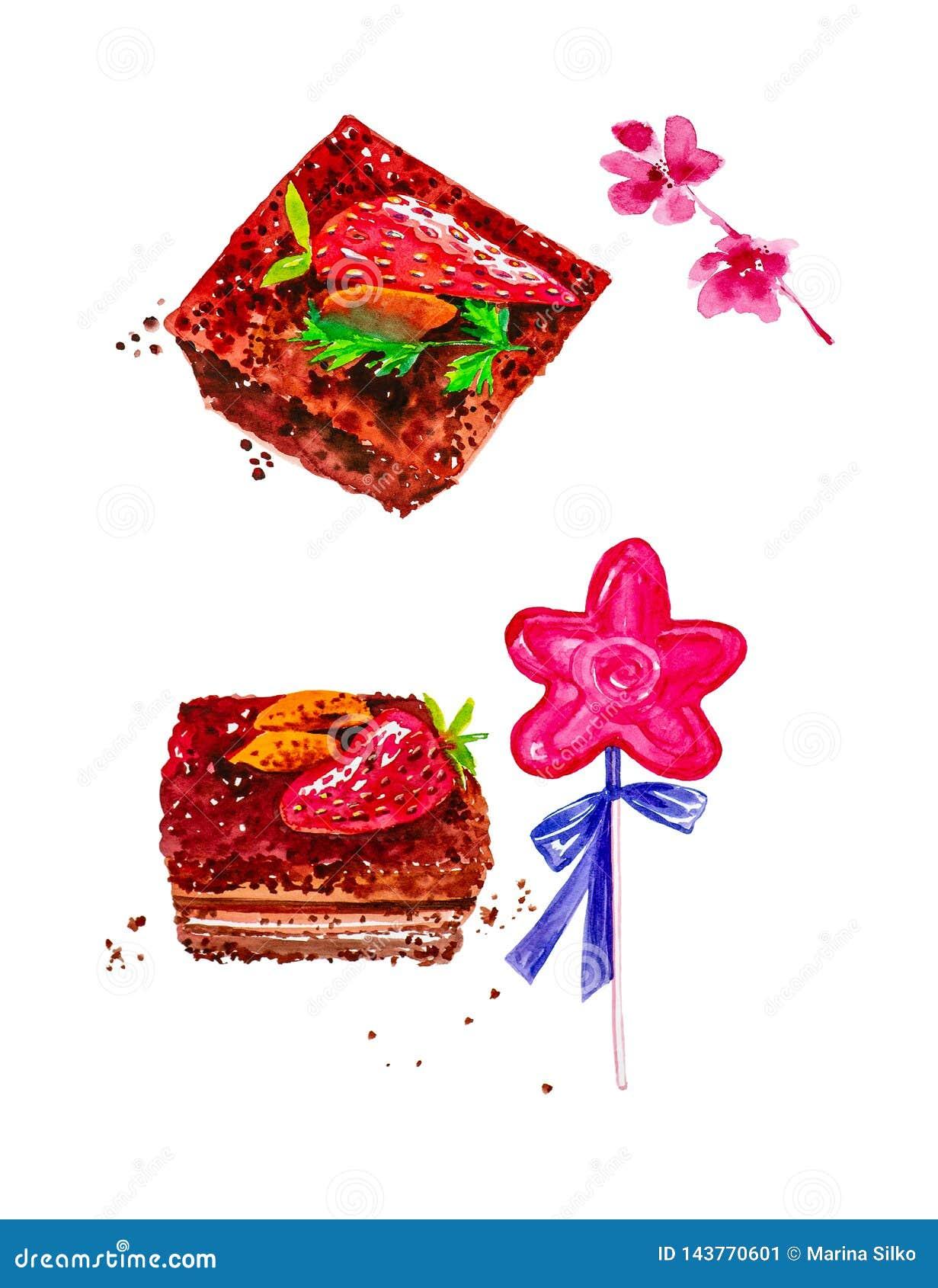 Ajuste dos pedaços de bolo com amêndoas e morangos, pirulito com uma curva e galhos de flores cor-de-rosa Ilustração da aguarela