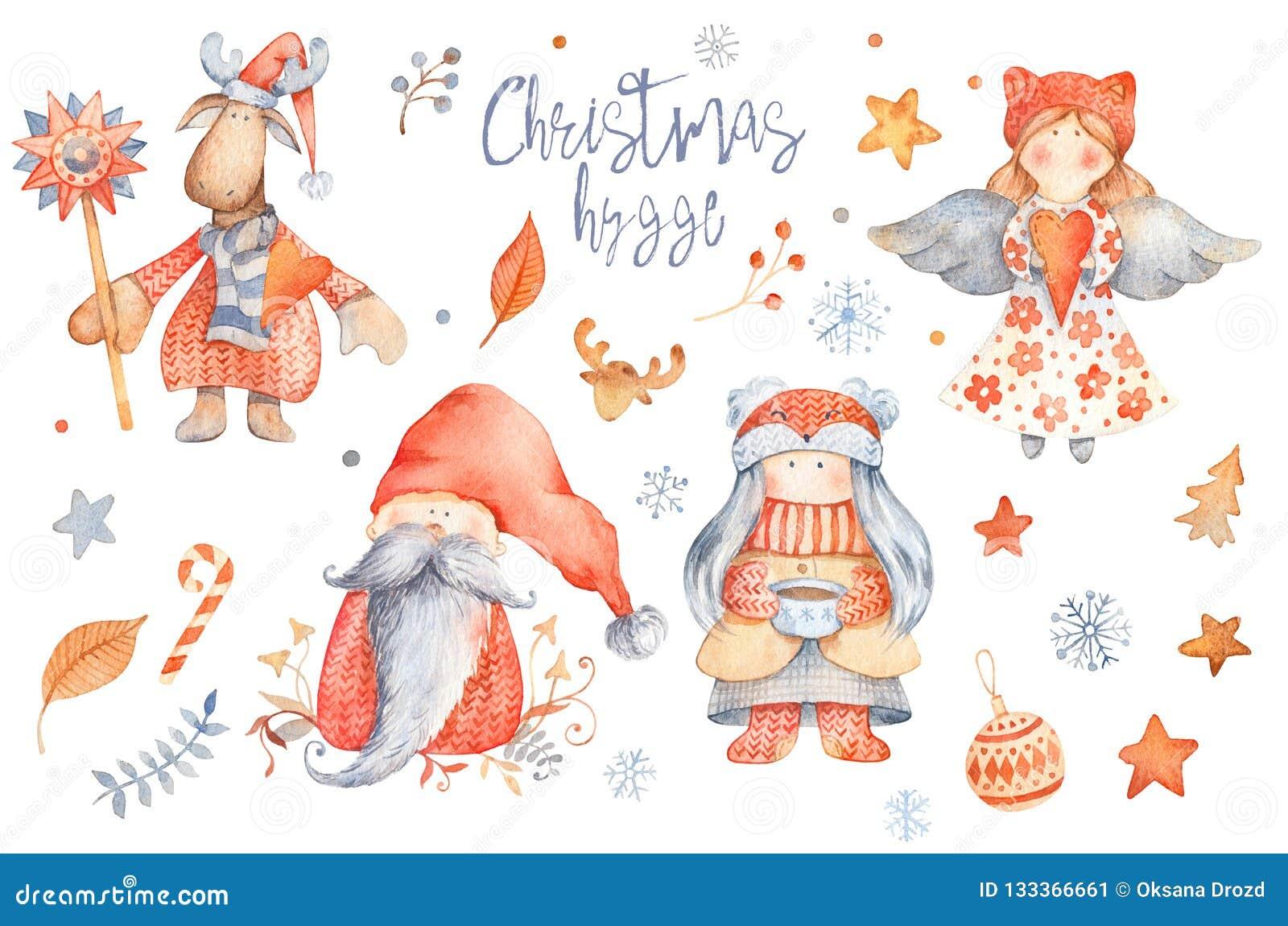 Ajuste dos personagens de banda desenhada bonitos de Hygge do Natal - gnomo, sagacidade da menina