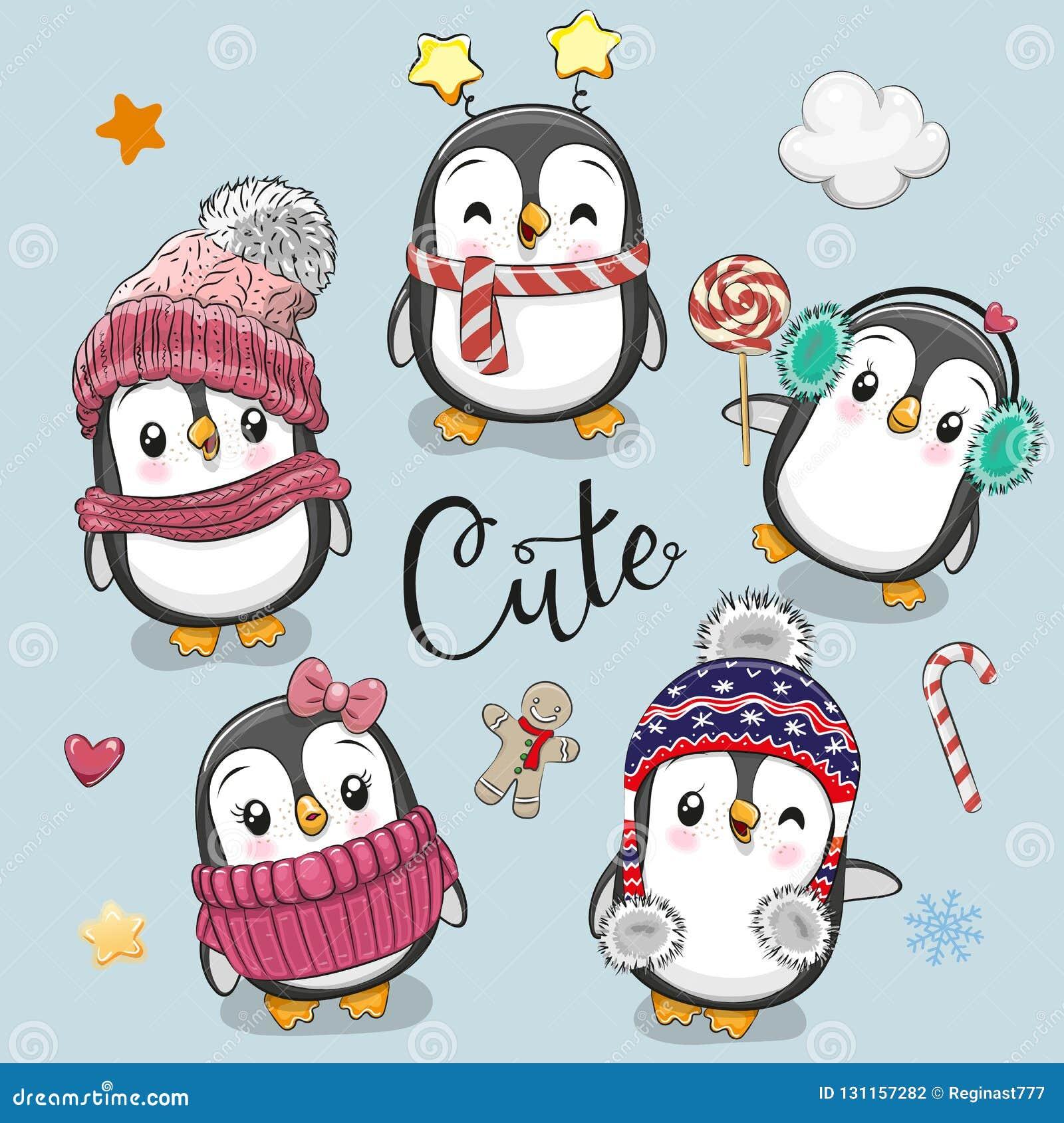 Ajuste Dos Pinguins Bonitos Do Natal Dos Desenhos Animados