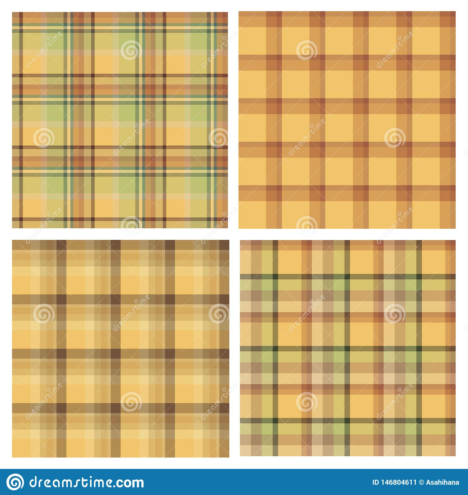 Ajuste dos testes padrões sem emenda em tons amarelos para a manta, a tela, a matéria têxtil, a roupa, a toalha de mesa e as outr