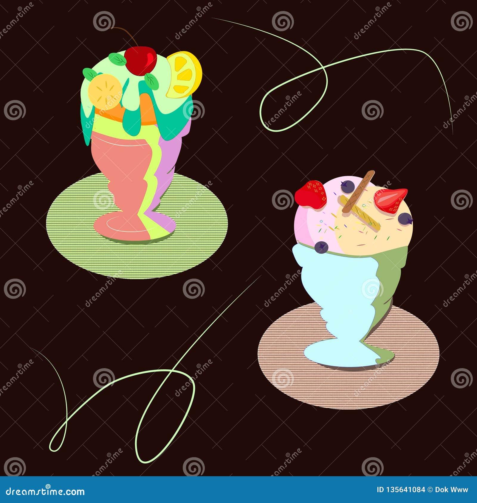 Ajuste dos tipos diferentes de gelado do fruto brilhante