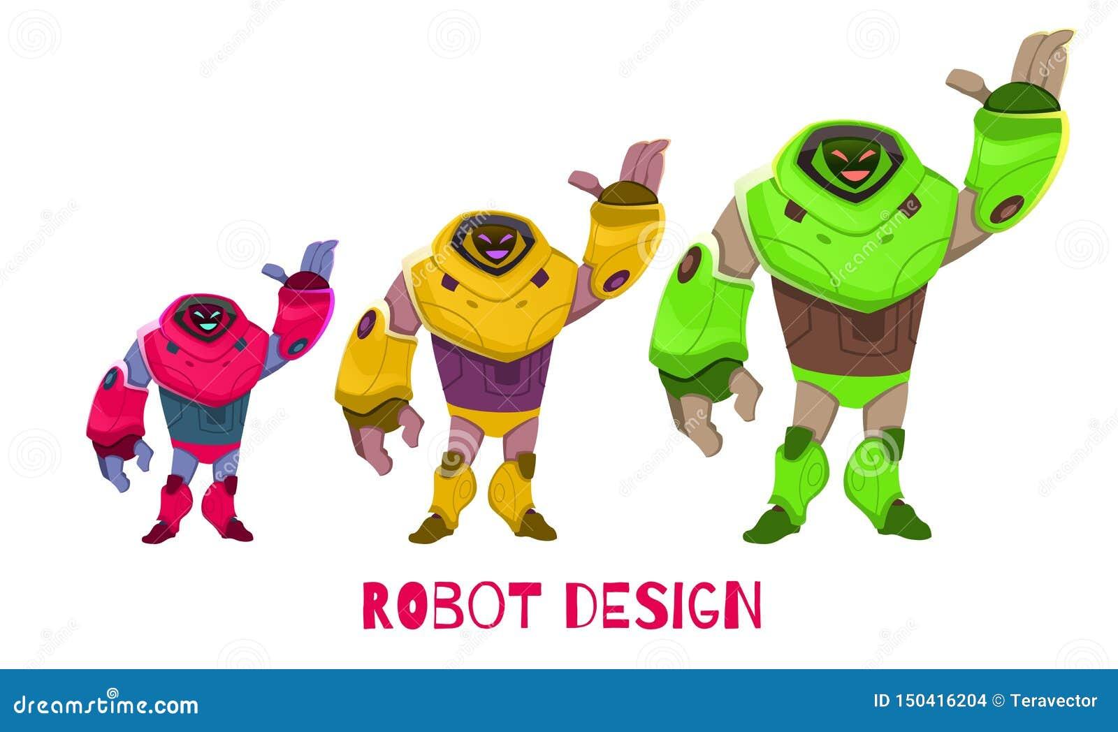 Ajuste em tamanho o vetor diferente dos desenhos animados do projeto do robô