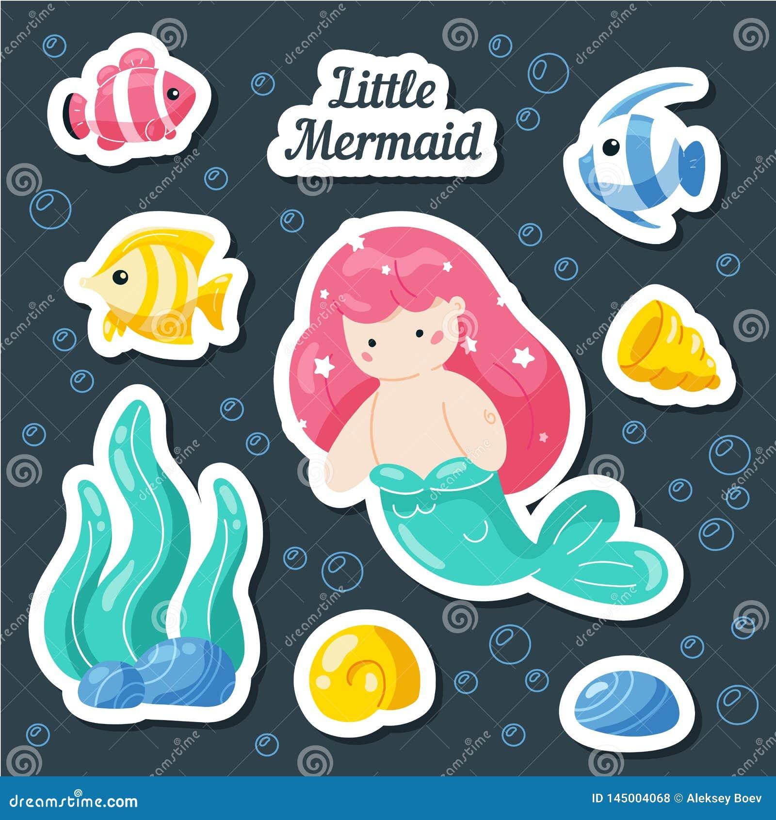 Ajuste etiquetas do mar Sereia, peixe, escudos, recife de corais Remendos dos desenhos animados, crachás, pinos, cópias para cr