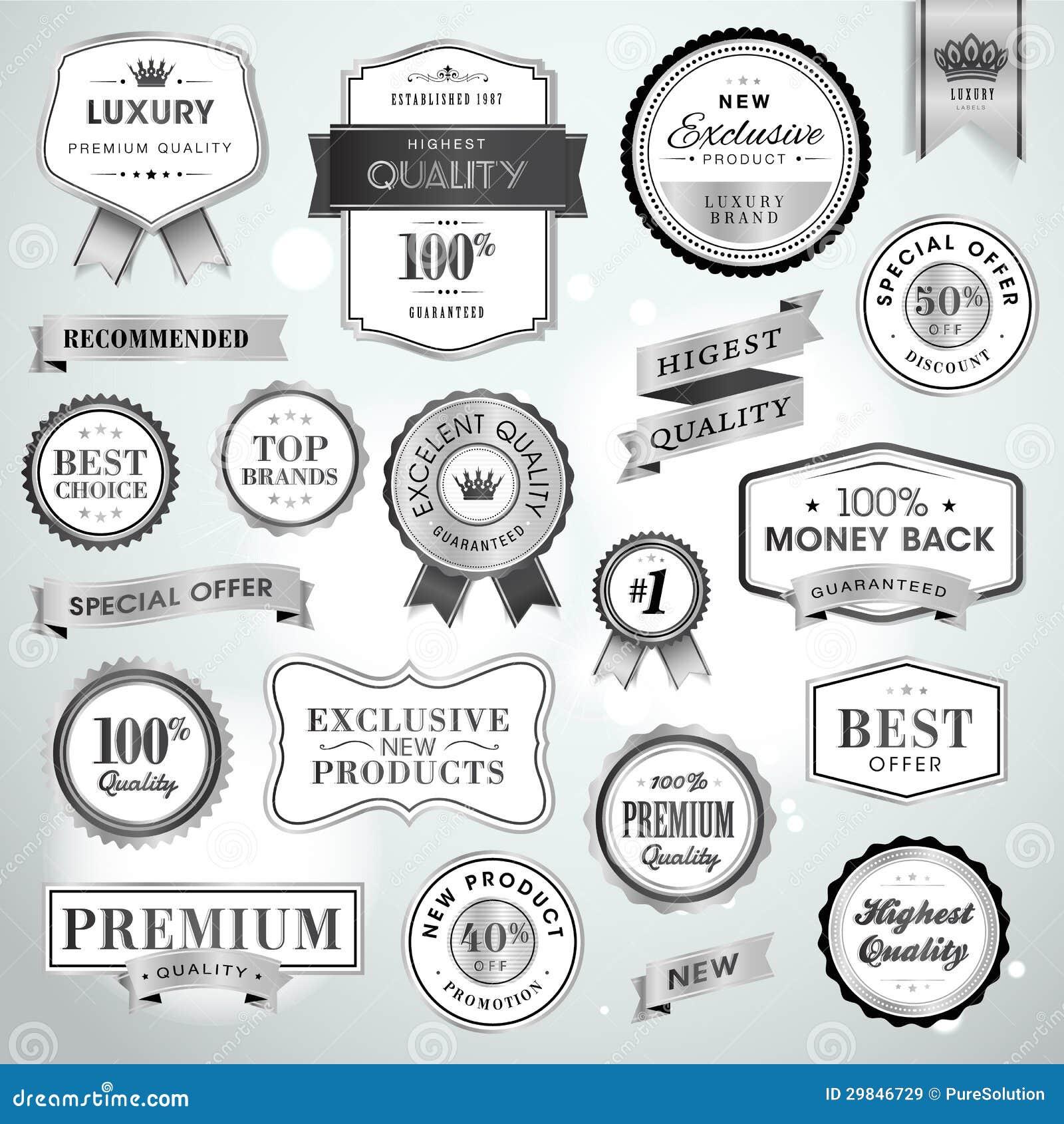 Ajuste etiquetas e fitas de prata luxuosas