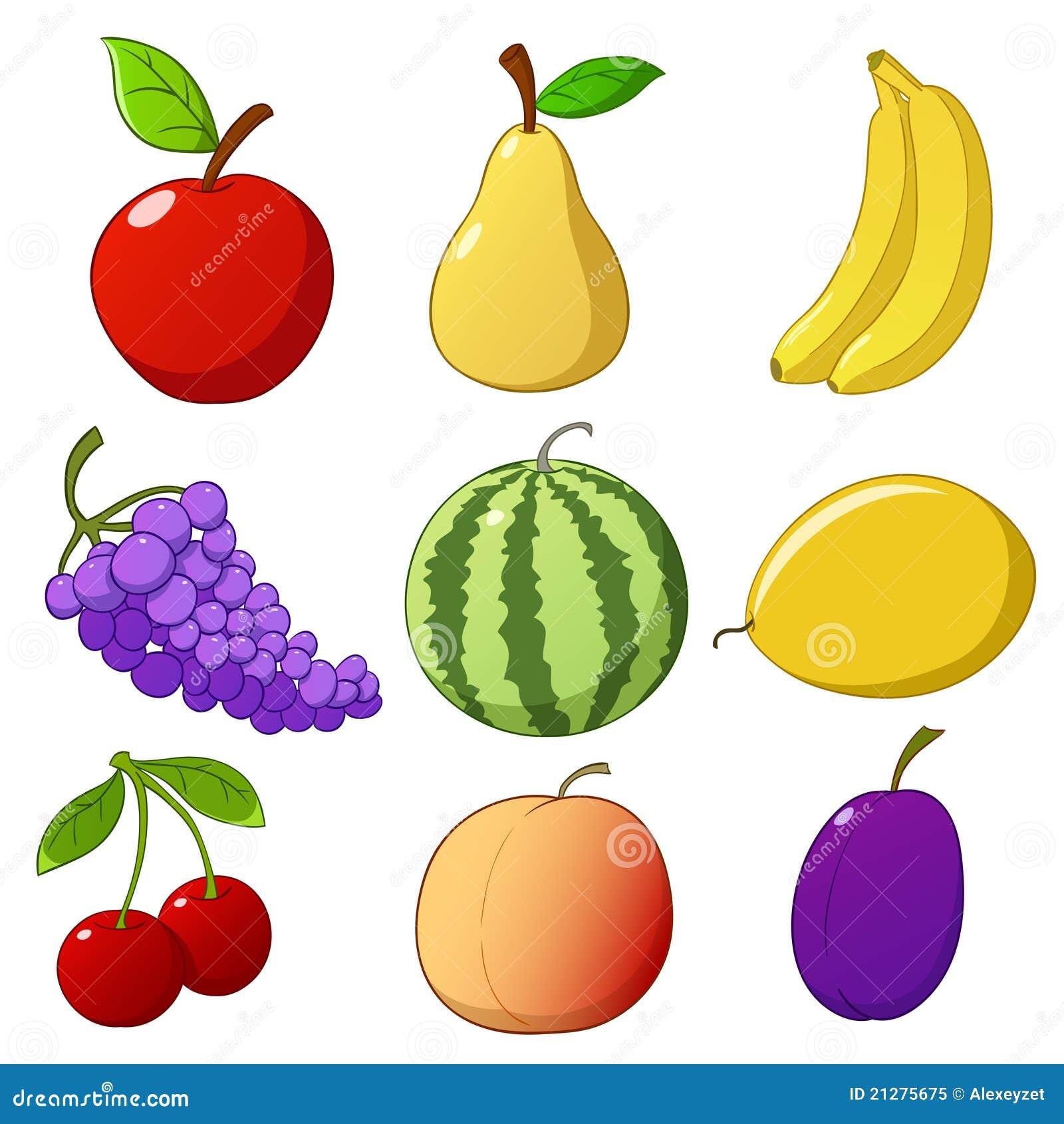 Ajuste Frutas Desenhadas Mo Dos Desenhos Animados Isoladas No Fundo