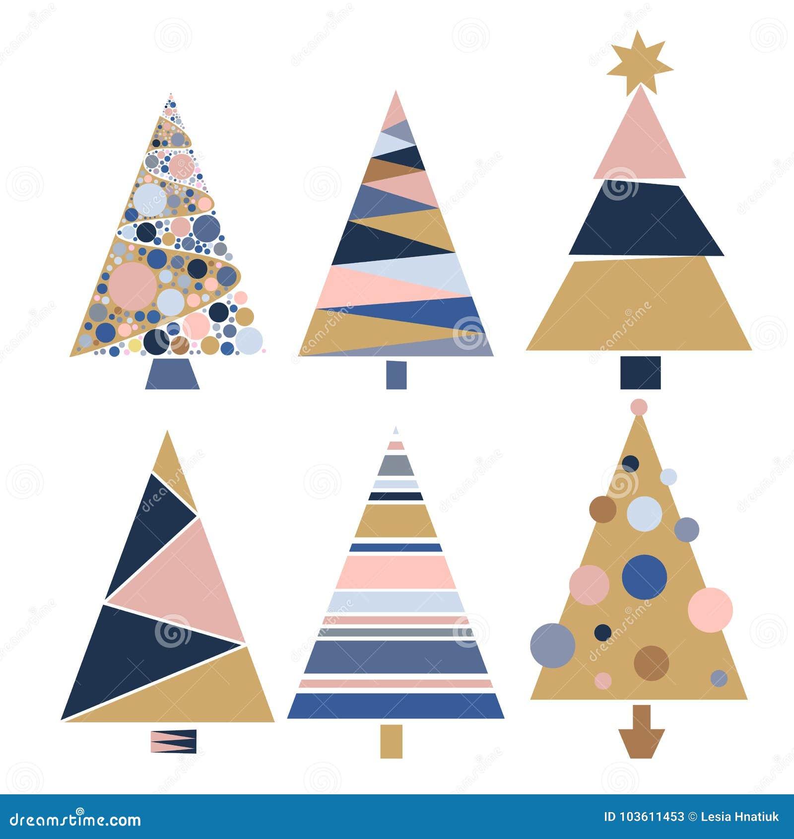 Ajuste a ilustração do vetor da celebração de dezembro da estação do projeto do inverno das árvores de Natal da decoração