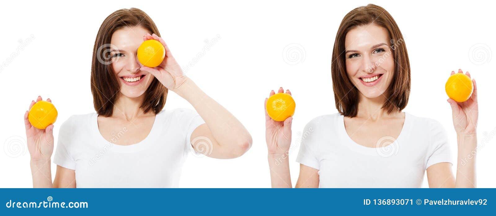 Ajuste laranjas da posse dois da mulher Beleza, cosméticos e conceito da forma