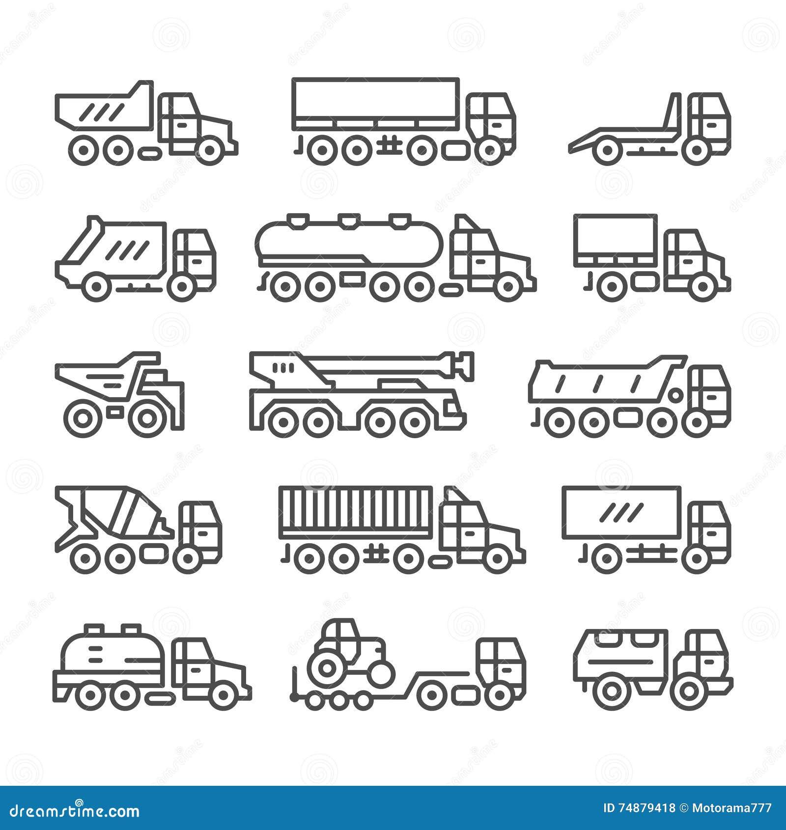 Ajuste a linha ícones de caminhões