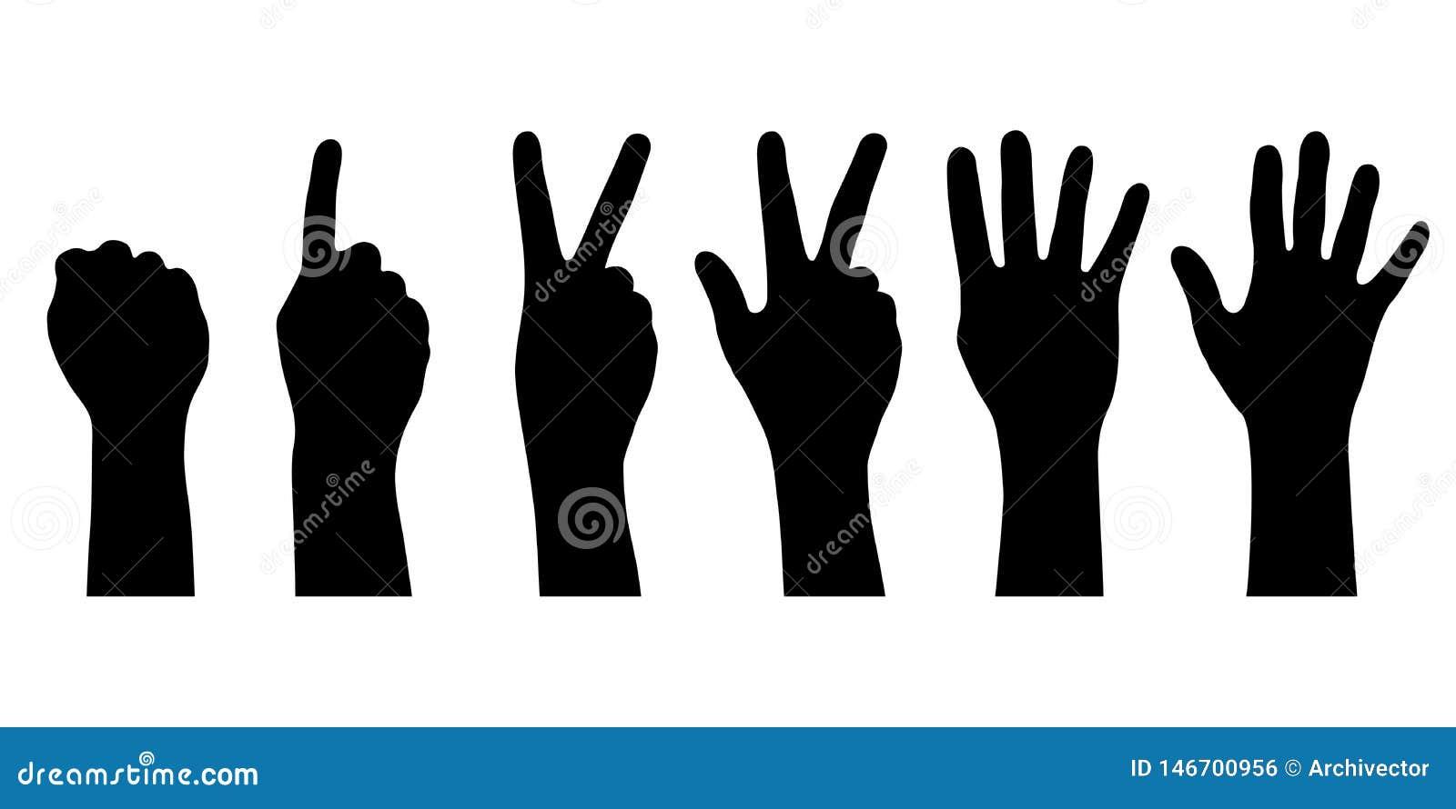 Ajuste mostra em silhueta as mãos humanas