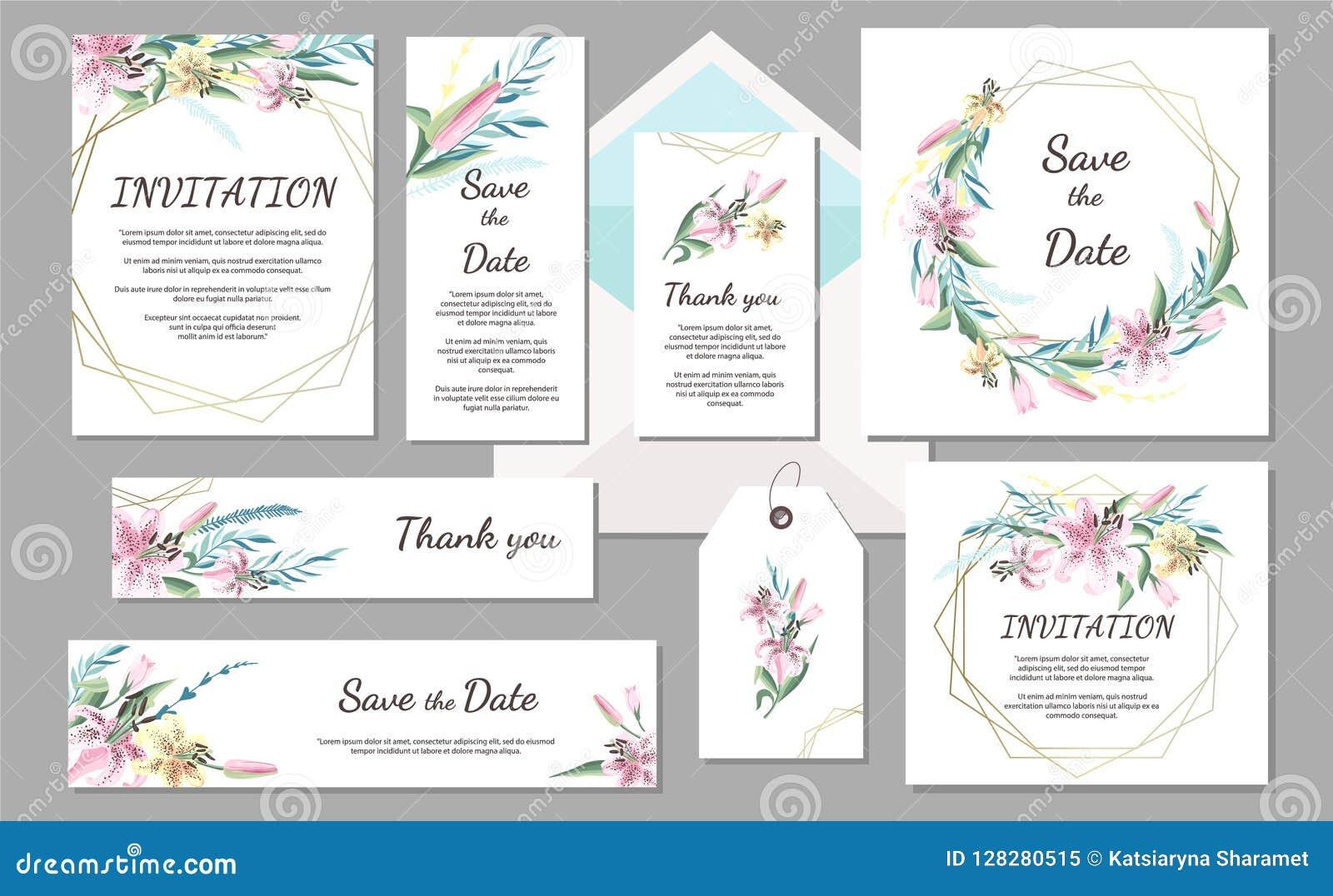 Ajuste o cartão do vintage do convite do casamento com lírio cor-de-rosa e quadros geométricos Flores desenhadas mão