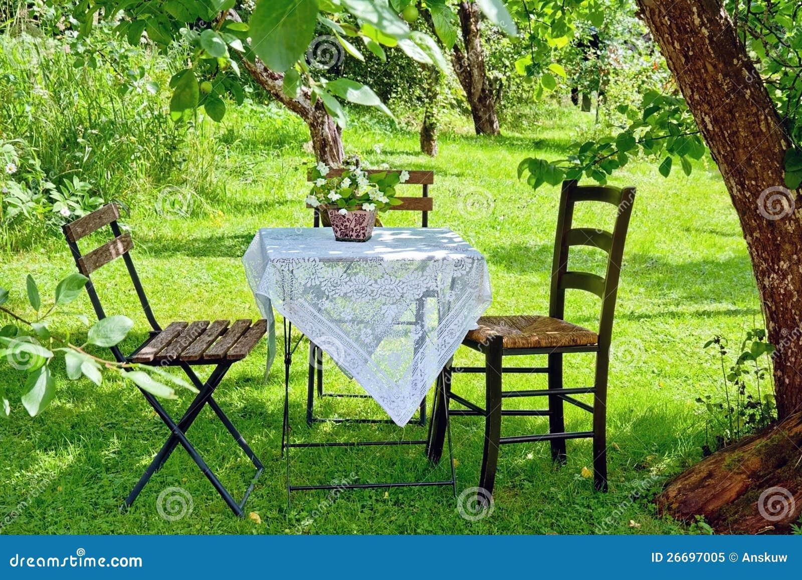 Ajuste pitoresco de uma mesa de centro em um jardim