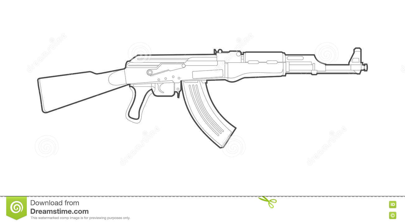 how to draw a ak 47 easy