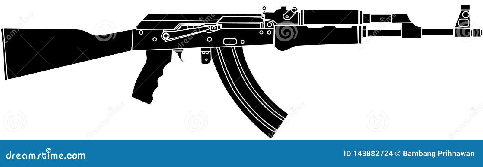 AK47 för Rusian anfallRiffle svart - vektorillustration