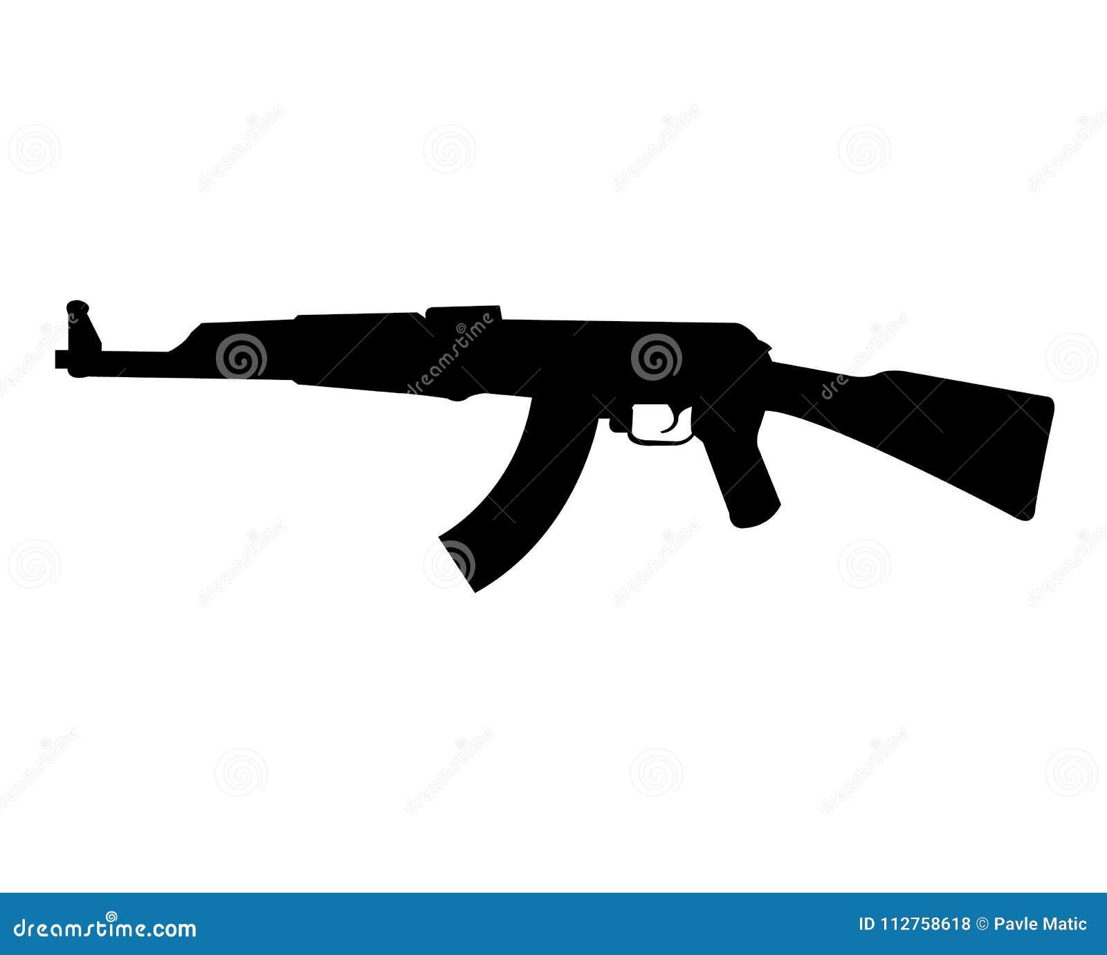 Ak 47 Rifle Silhouette Stock Vector Illustration Of Shot 112758618