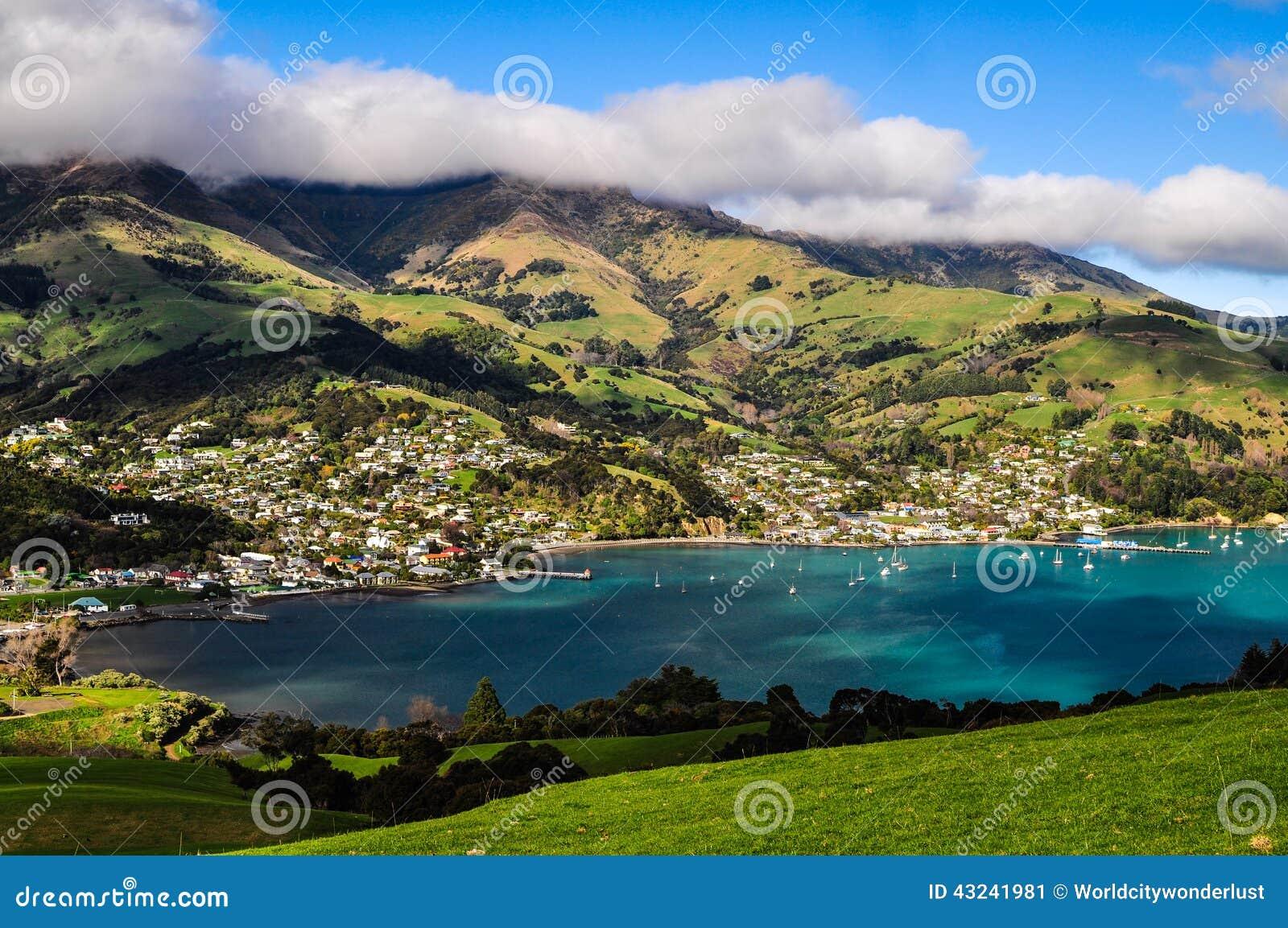 New Zealand Time Image: Akaroa, New Zealand Stock Photo