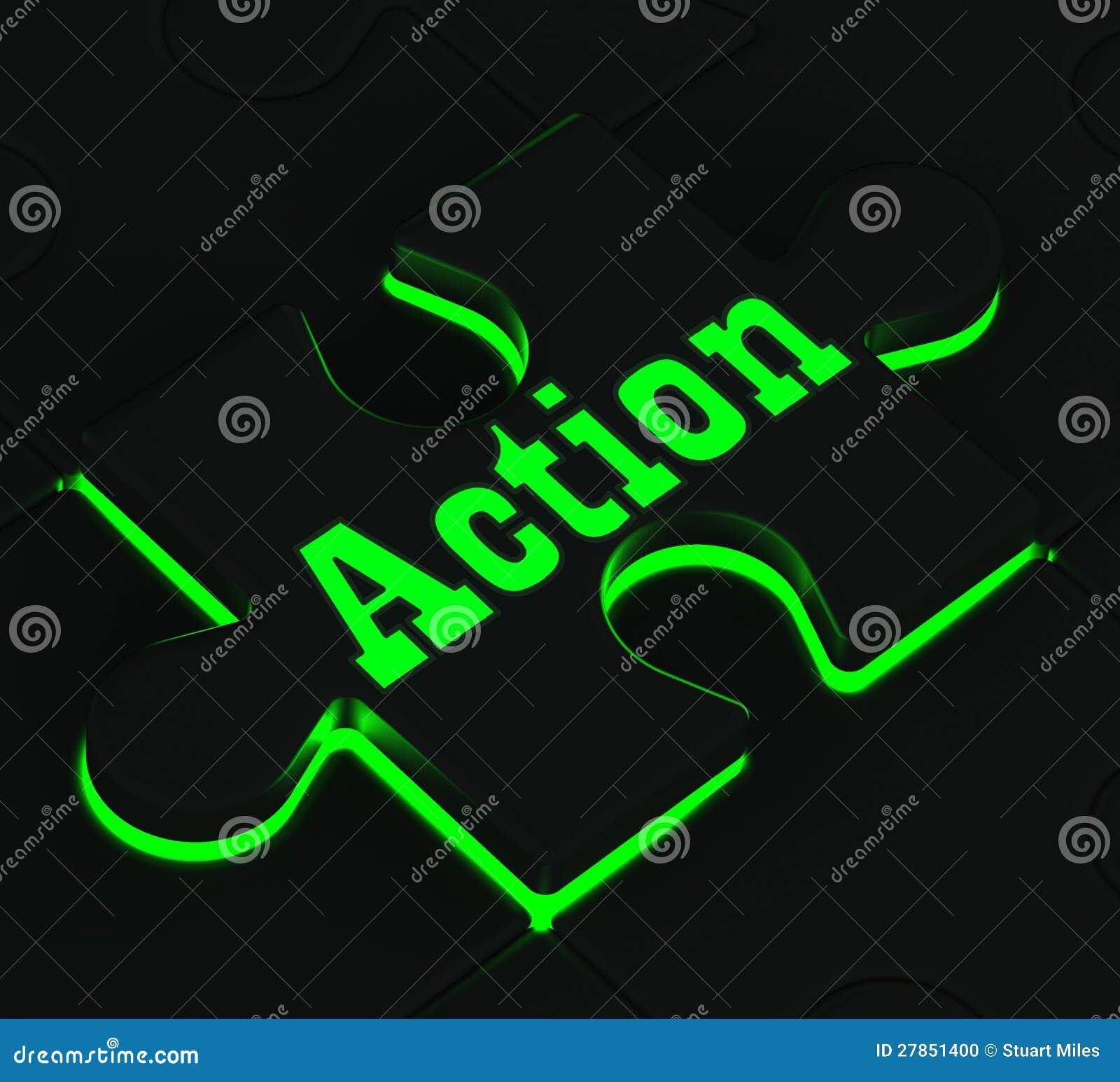 Akci łamigłówka Pokazuje motywację I aktywizm