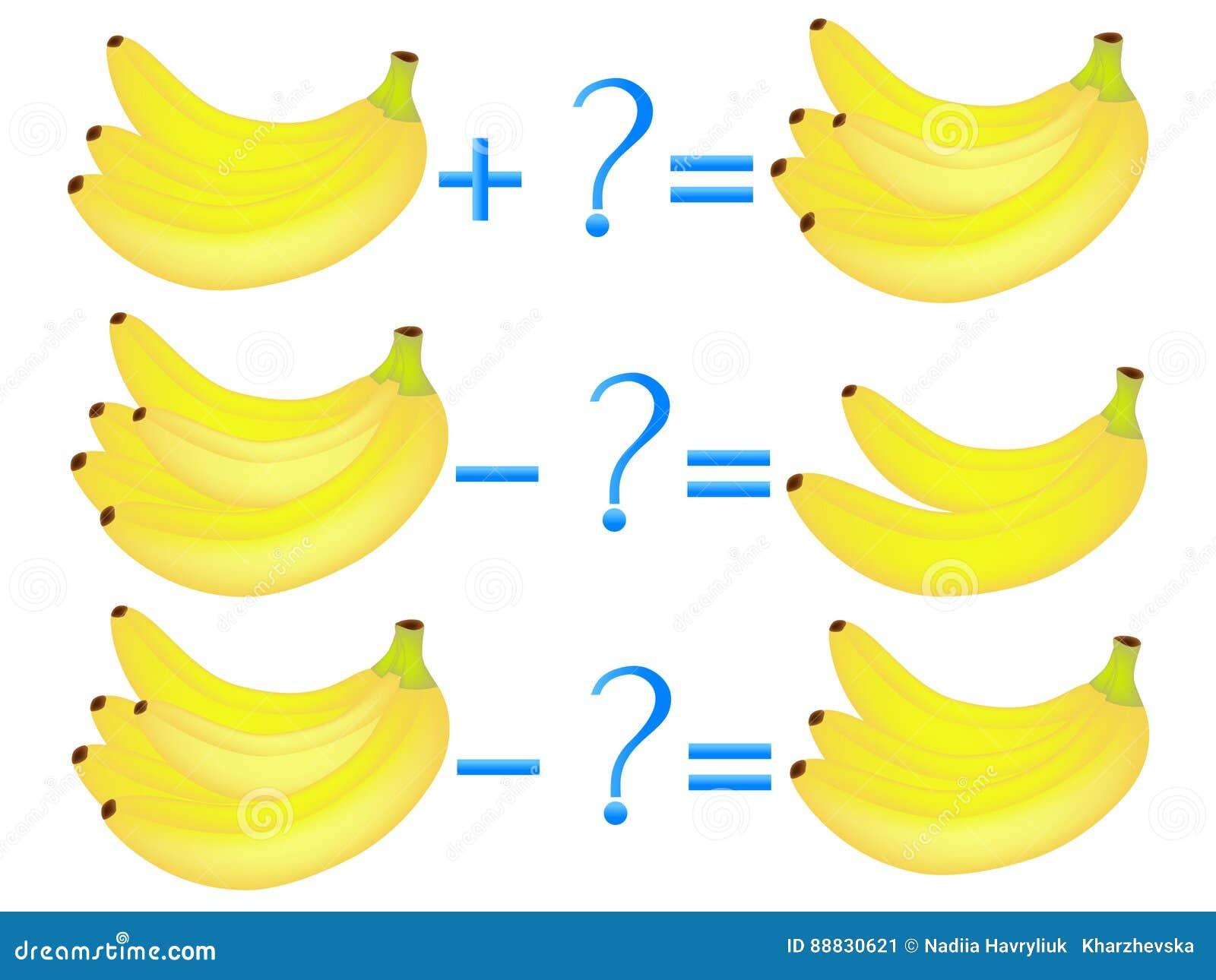 Akci związek dodatek i odejmowanie, przykłady z bananami Edukacyjne gry dla dzieci