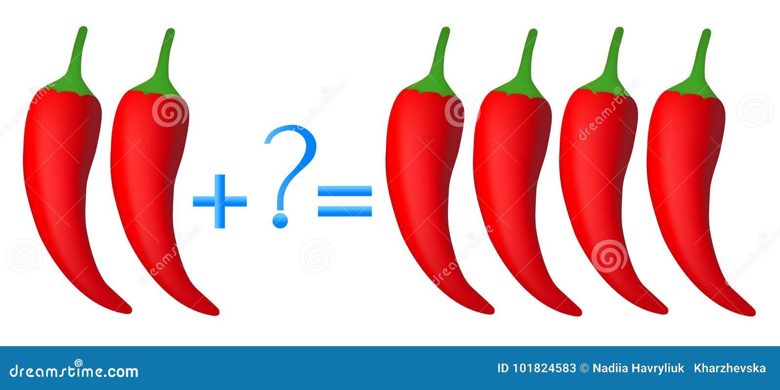 Akci związek dodatek, przykłady z chili pieprzem Edukacyjna gra dla dzieci
