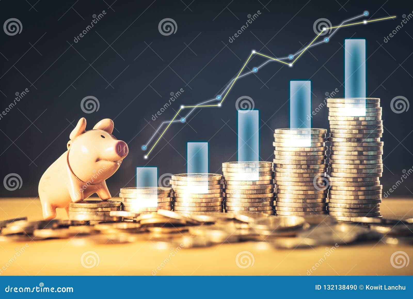 Akcyjnego funduszu lub pieniądze oszczędzania wykres i prosiątko bank na monetach Tło dla biznesowych pomysłów i projekta Mapa dl