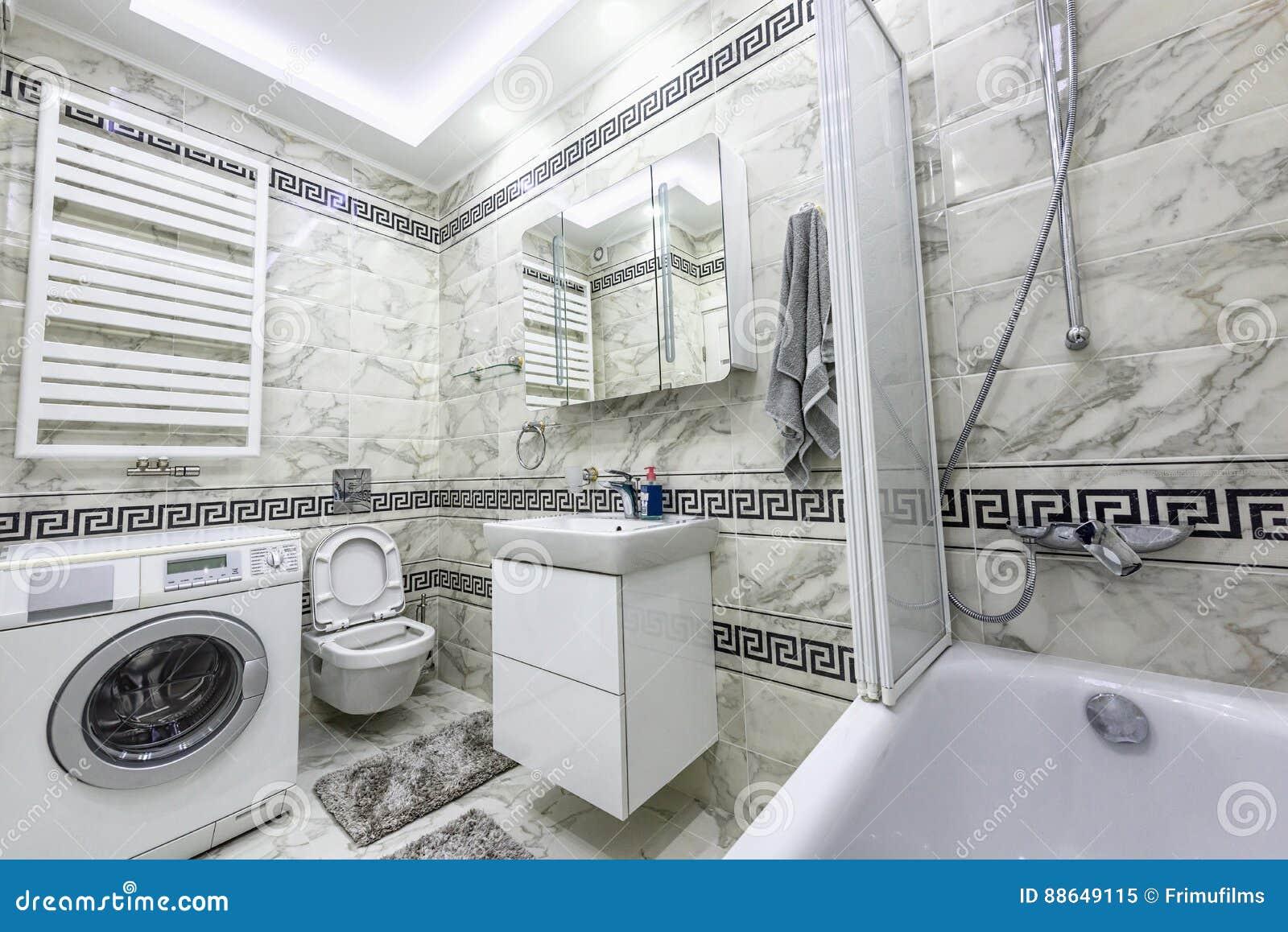 Akcyjnej Fotografii Biała I Czarna Mała łazienka Obraz Stock