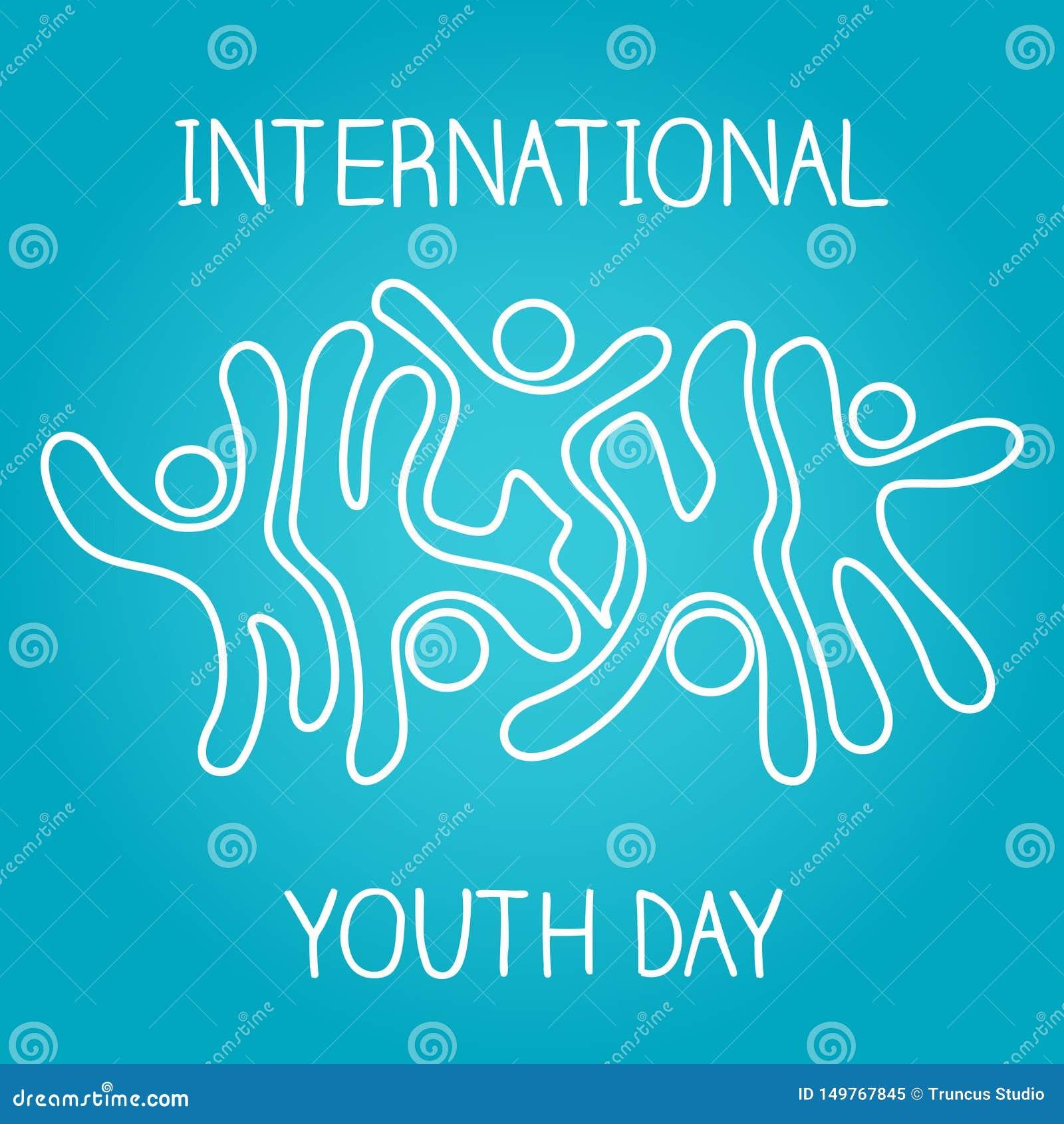 Akcyjny wektorowy międzynarodowy młodości dnia, 12 ikony i taniec na błękitnym tle Sierpniowy ikonowy doskakiwanie,