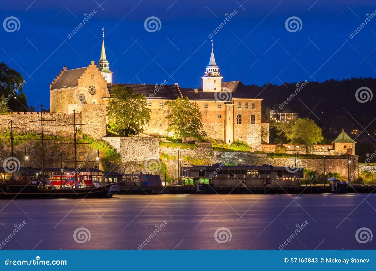 Akershus Fortress At Night Stock Photo - Image: 57160843