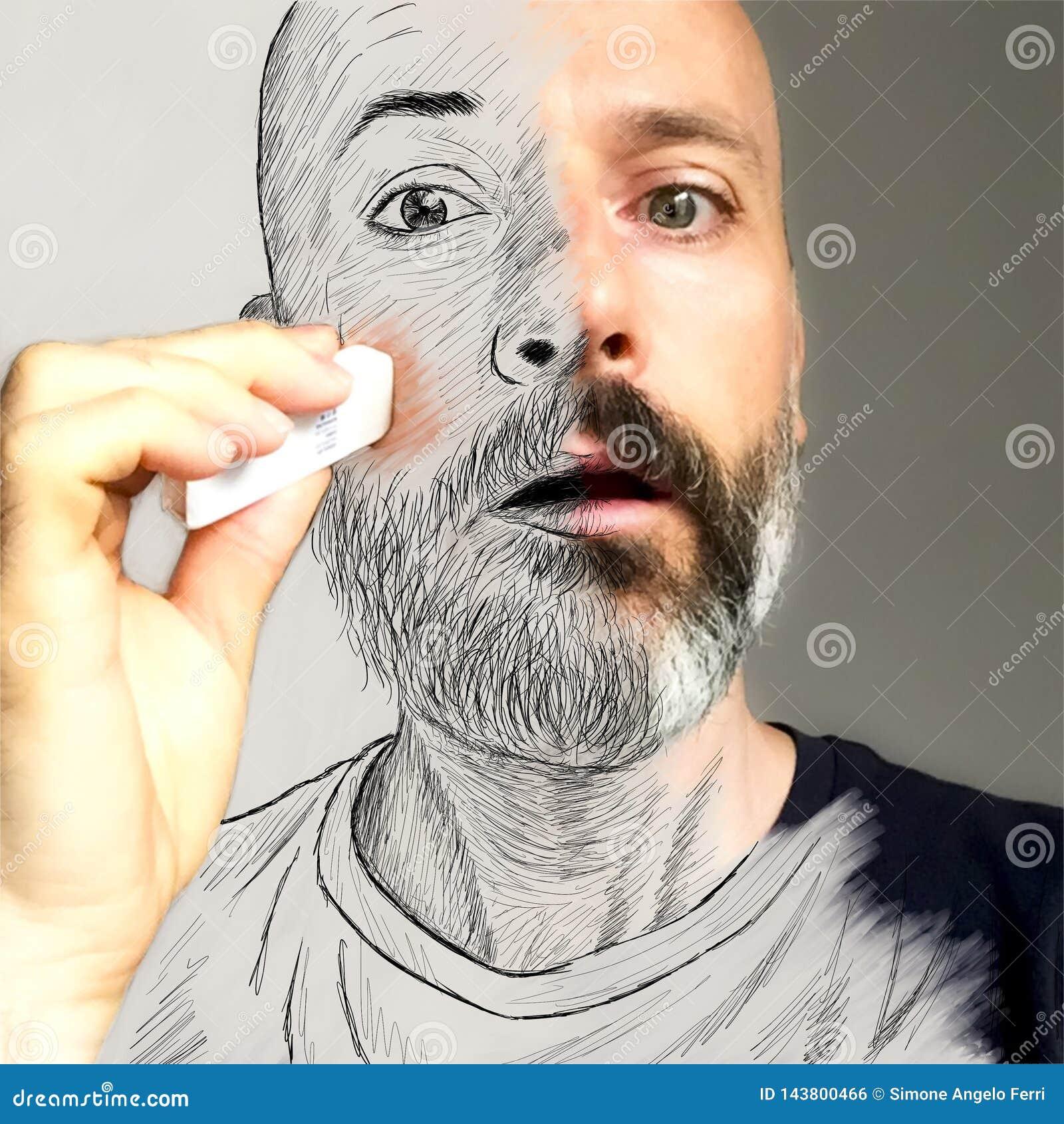 Aketch na portrecie Mężczyzna wymazuje jego twarz