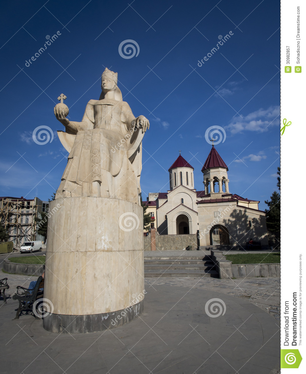 Saint Peter's Church and the monument of queen Tamar in the center of ...