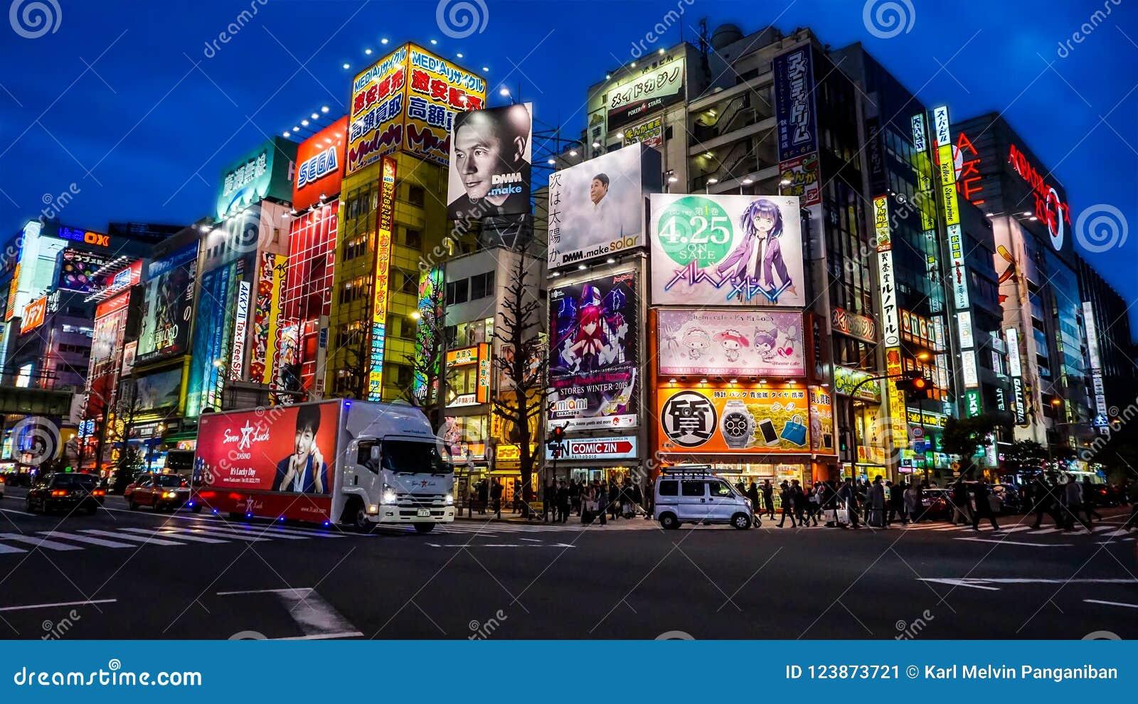 Akihabara sławny robi zakupy teren w Japonia