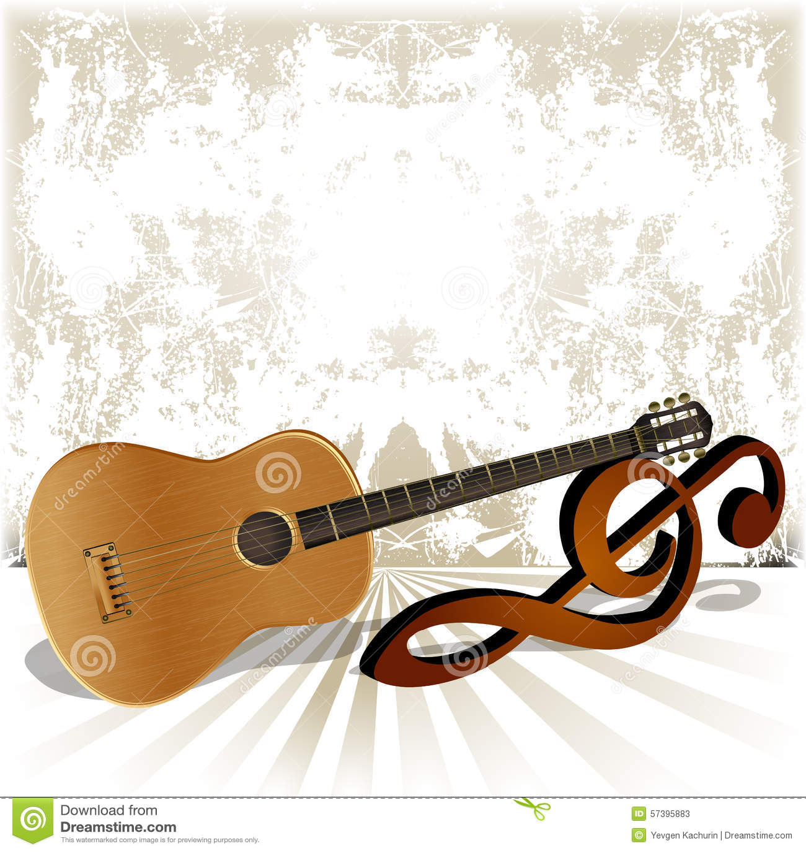 Akoestische gitaarrust op de g-sleutel