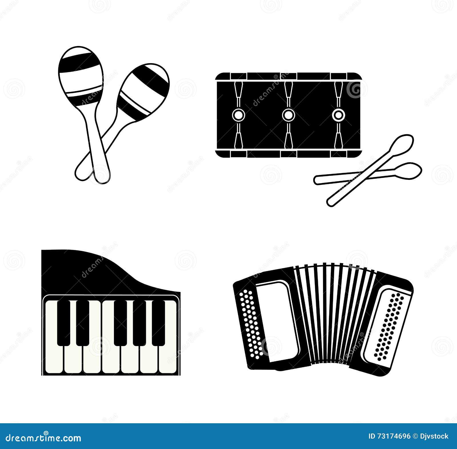 Akordeonu Maraca Pianina I Bębenu Ikona Jest Istna Duszy Muzyki