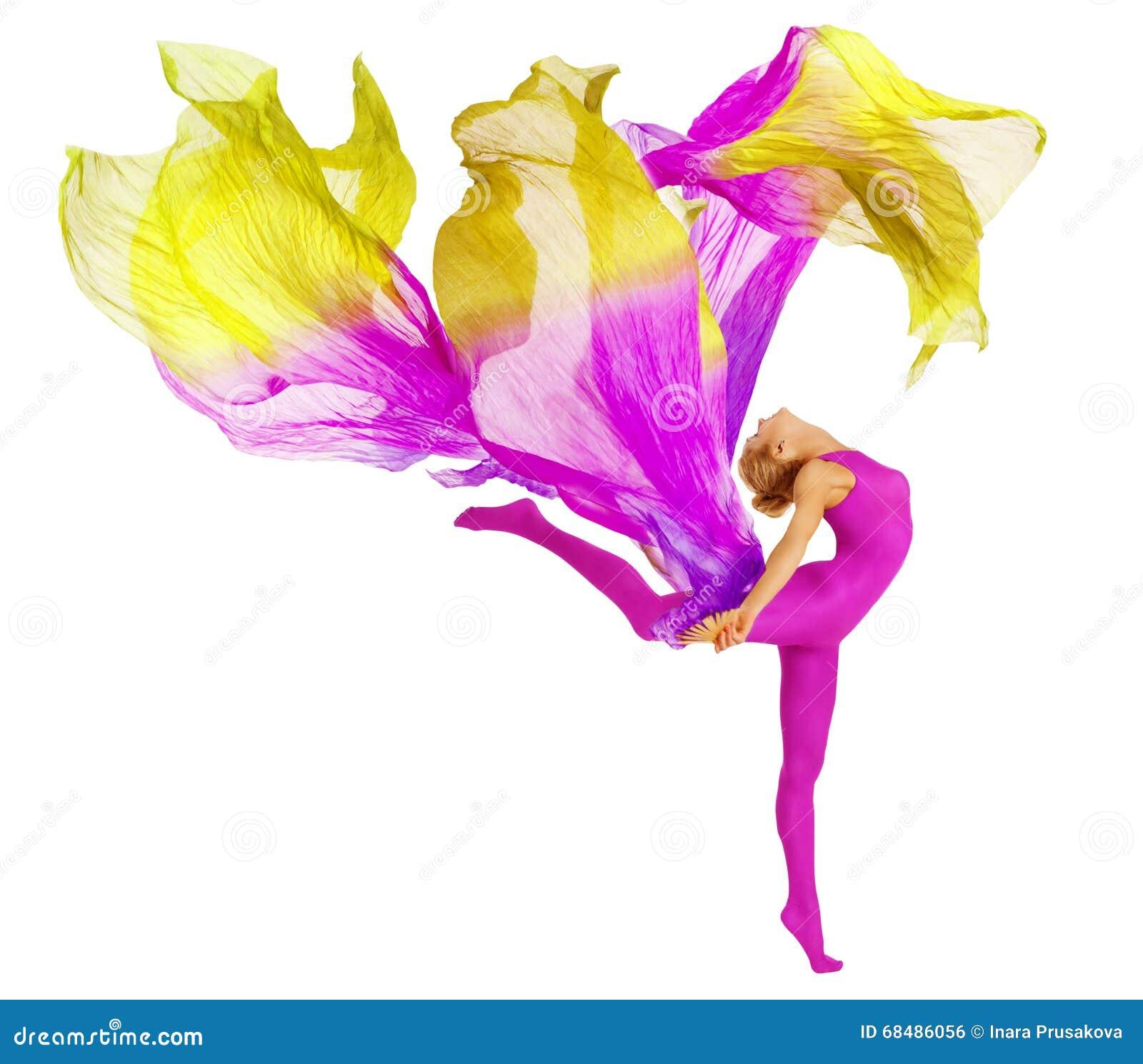 Akrobat-Tanzen mit Gewebe, flexibles Frauen-Trikotanzug-Weiß