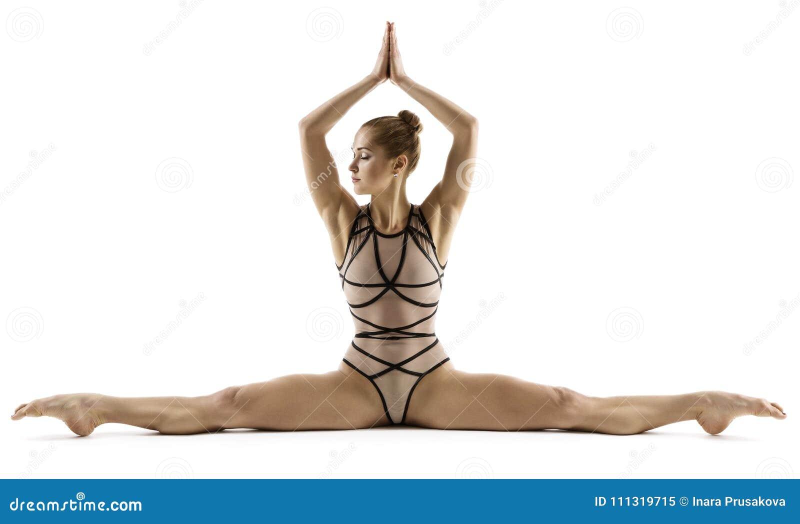 Akrobata kobieta Robi rozłamowi, gimnastyczki rozciągania nogi, gimnastyki