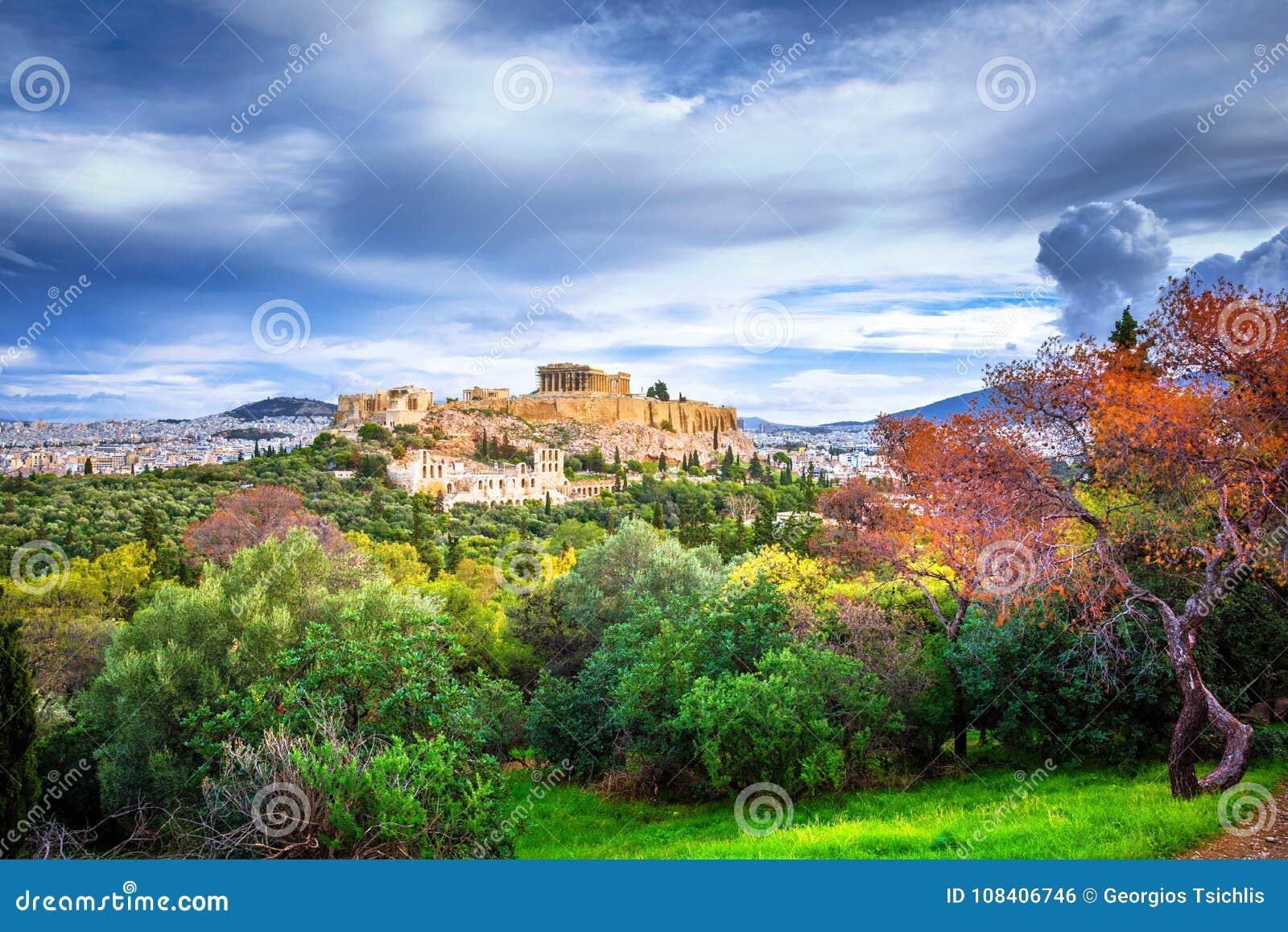 Akropol med Parthenon Sikt till och med en ram med gröna växter, träd, forntida marmor och cityscape, Aten