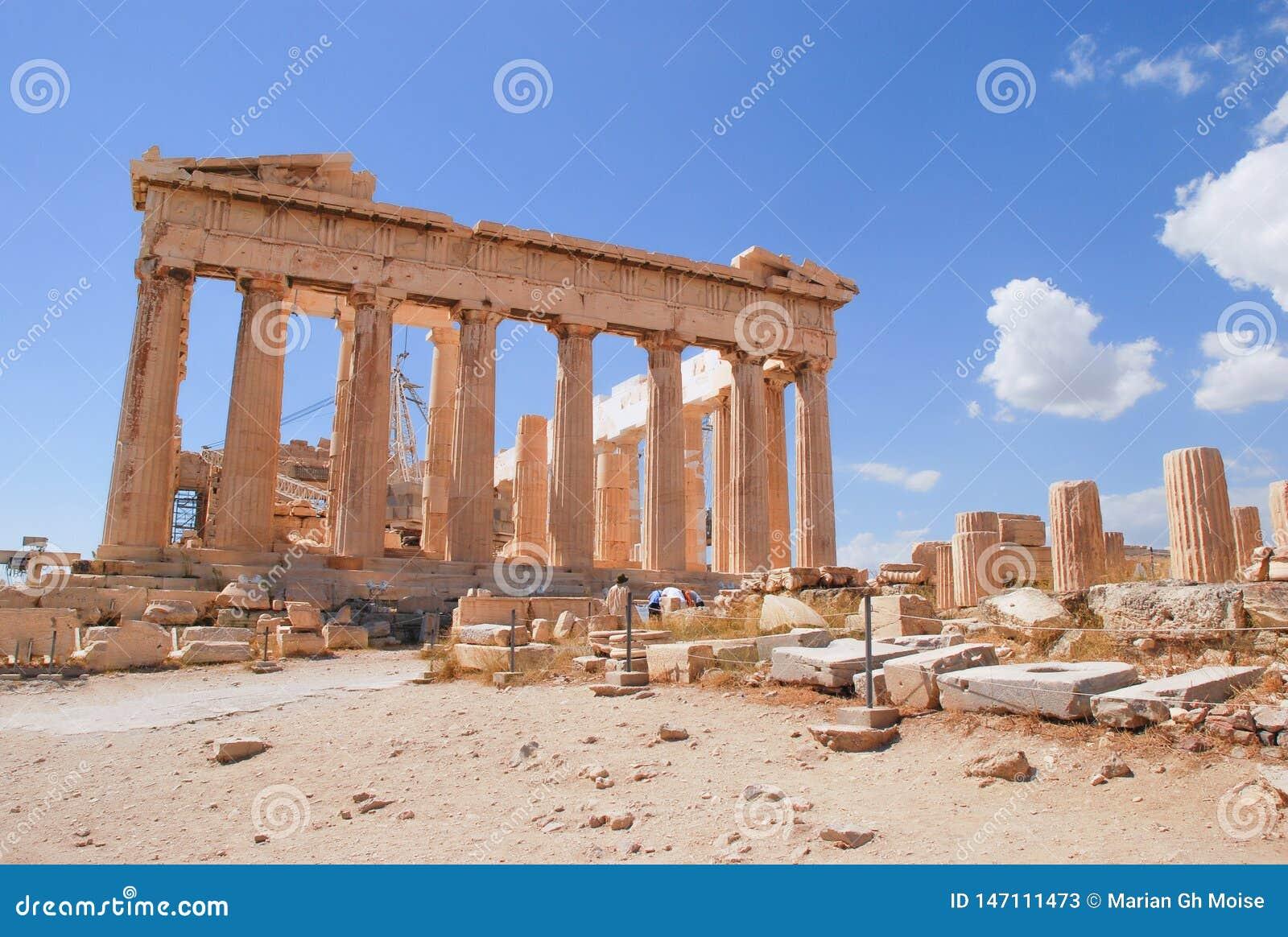 Akropolu Parthenon, Ateny, Grecja z niebieskim niebem