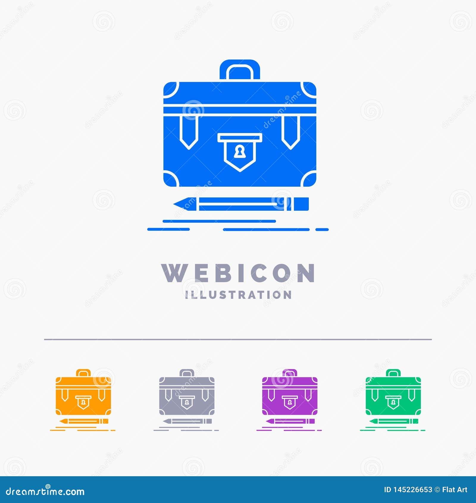 Aktenkoffer, Geschäft, finanziell, Management, Portfolio 5 Farbeglyph-Netz-Ikonen-Schablone lokalisiert auf Weiß Auch im corel ab