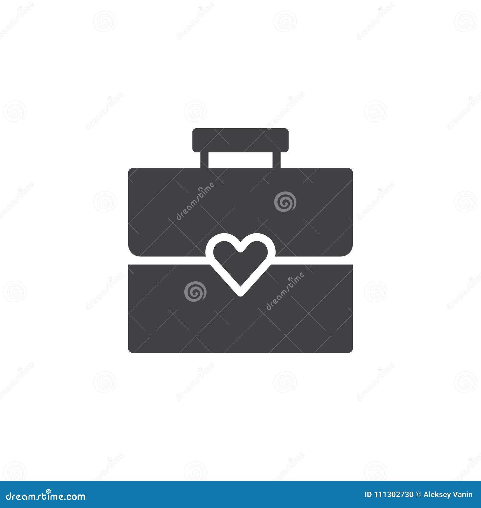 Aktentas met hart vectorpictogram