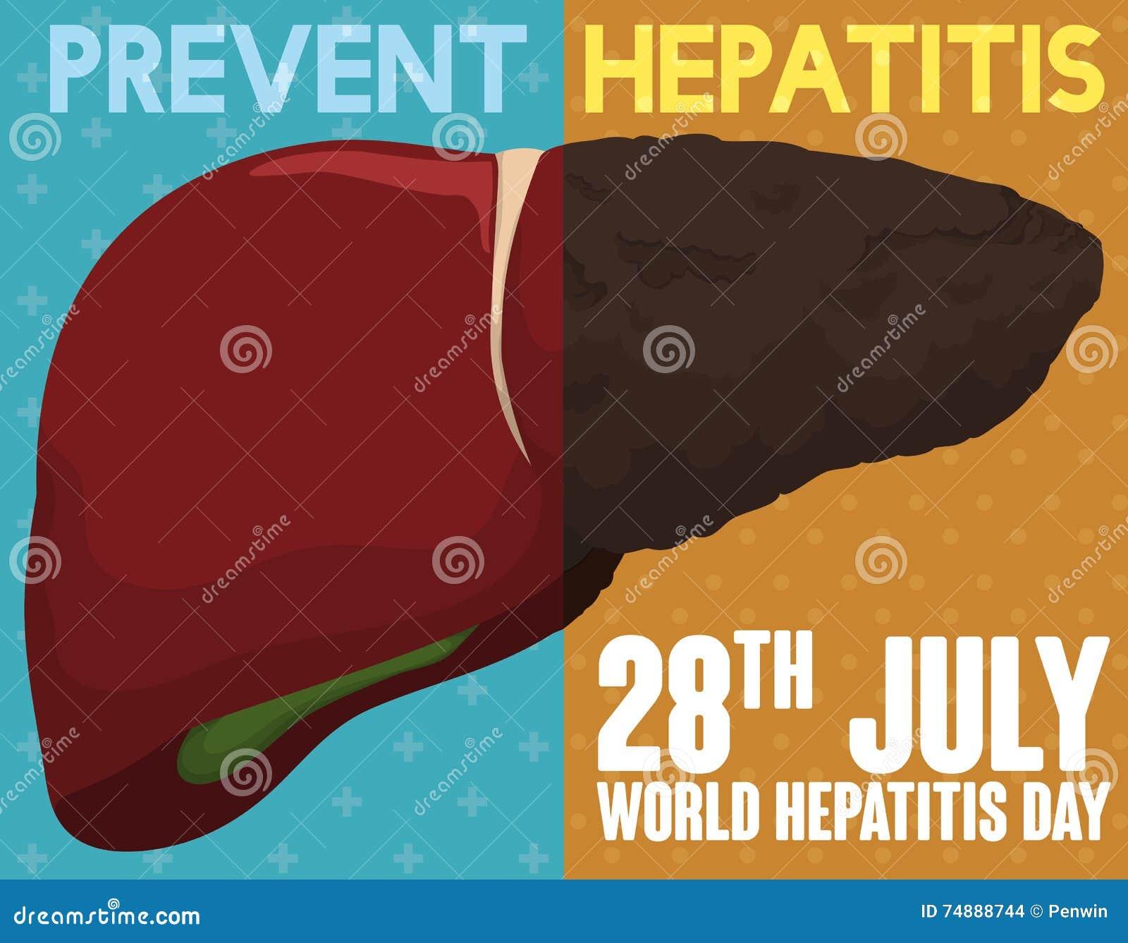 Aktion som främjar bra och sunda vanor för lever mot hepatit, vektorillustration