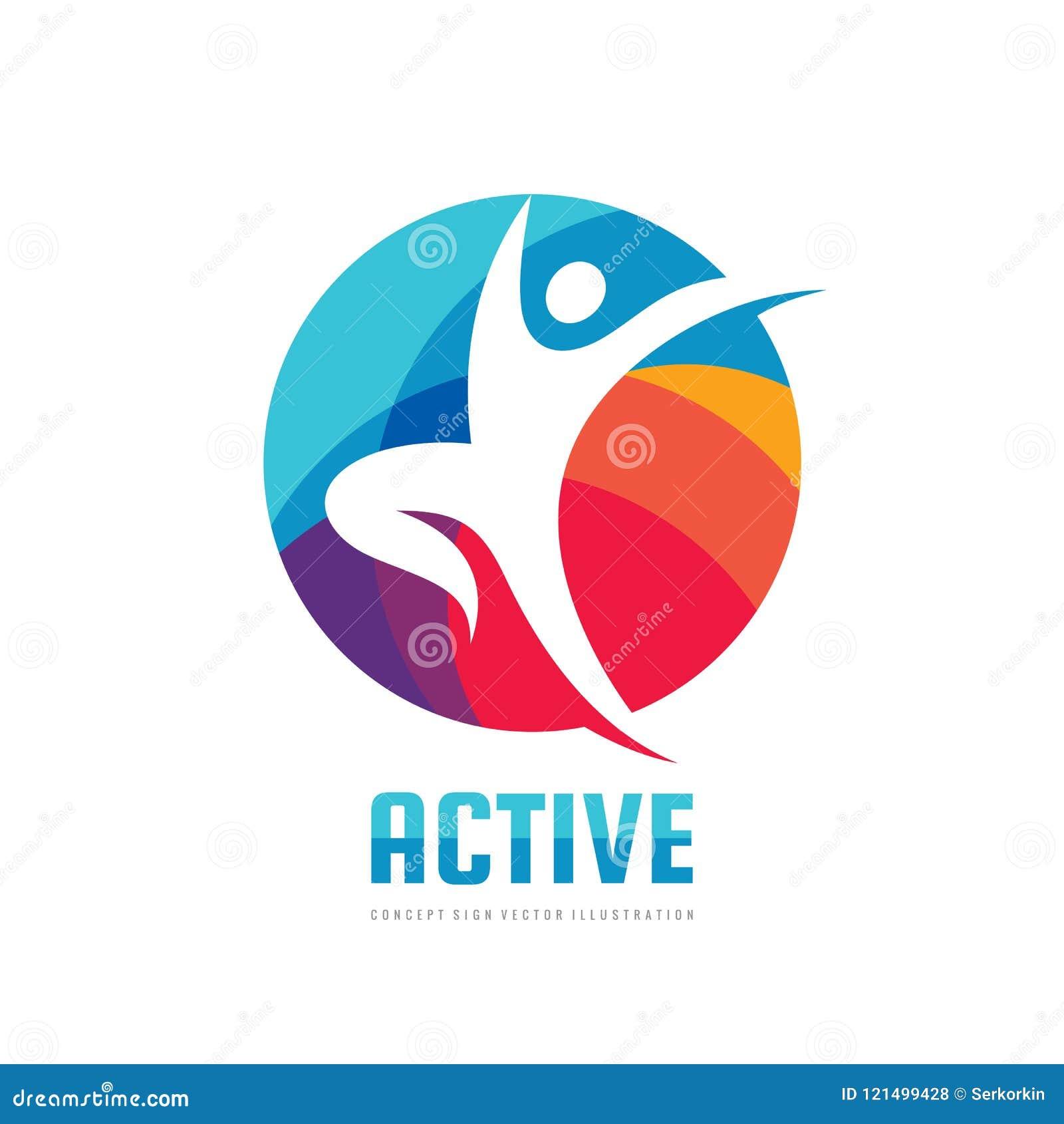 Aktiv - illustration för vektor för mall för begreppsaffärslogo Idérikt tecken för abstrakt mänskligt tecken Symbol för sportkond