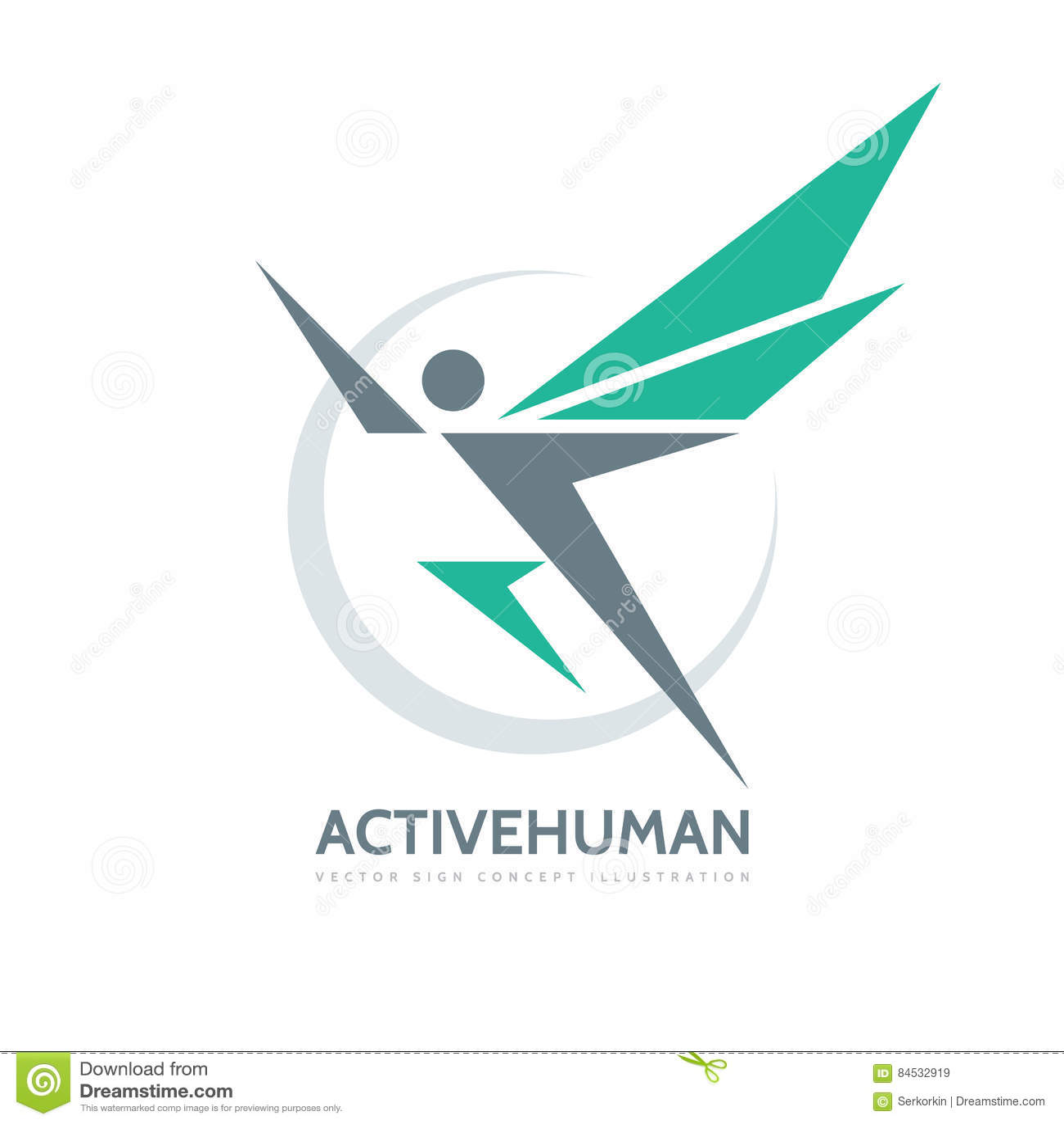 Aktivt mänskligt tecken - illustration för begrepp för mall för vektoraffärslogo Abstrakt man med vingar idérikt tecken