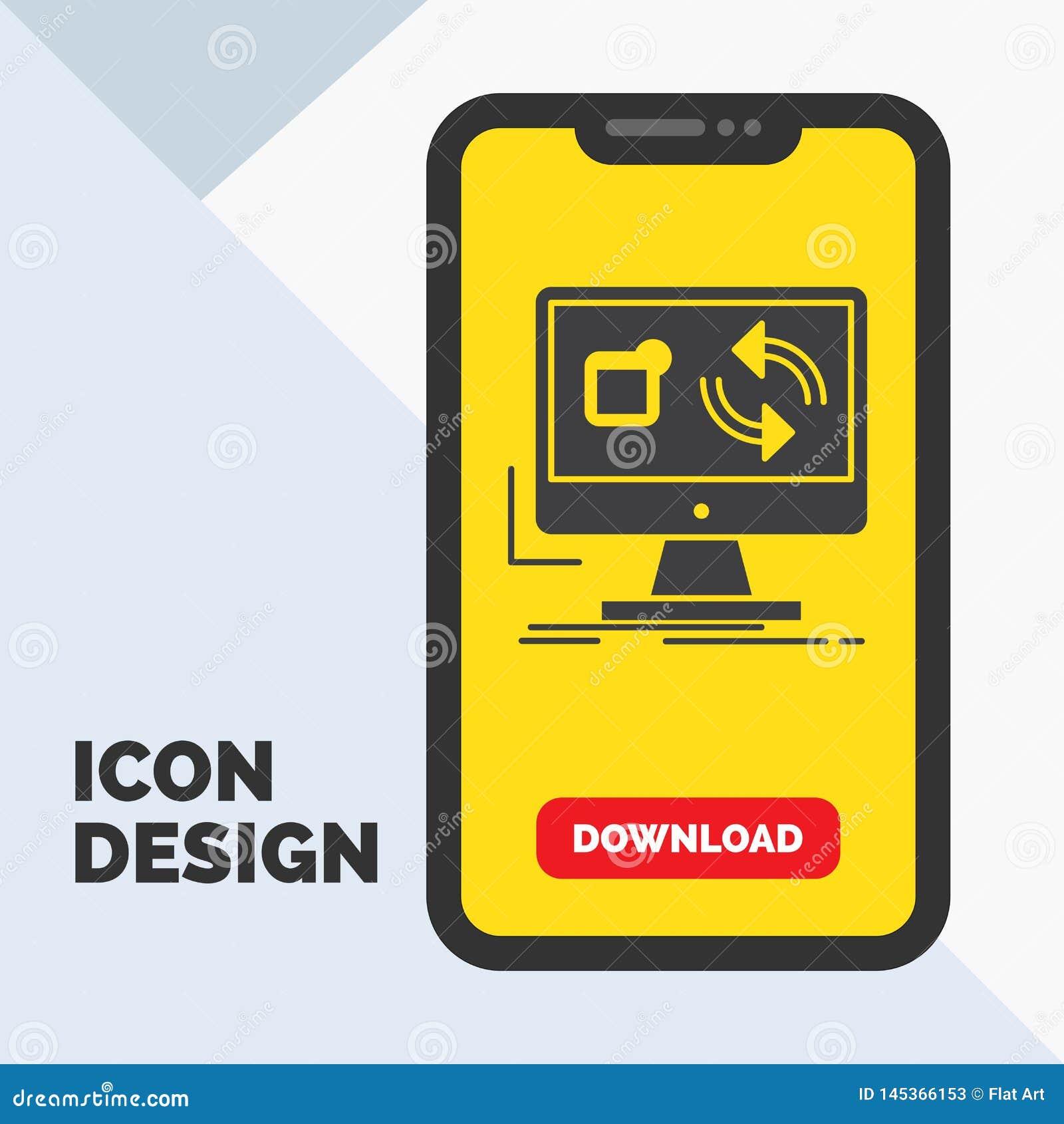 Aktualisierung, App, Anwendung, installieren, Synchronisierung Glyph-Ikone in Mobile für Download-Seite Gelber Hintergrund
