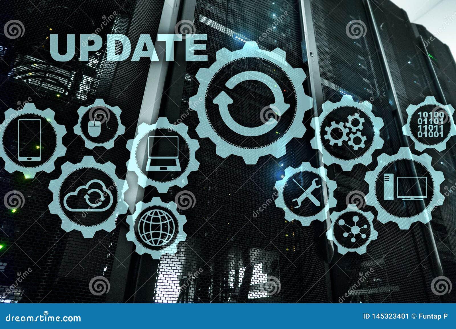 Aktualisierungs-Software-Computer auf virtueller Schirm-Server-Raum Datacenter-Hintergrund Technologie-Aktualisierung